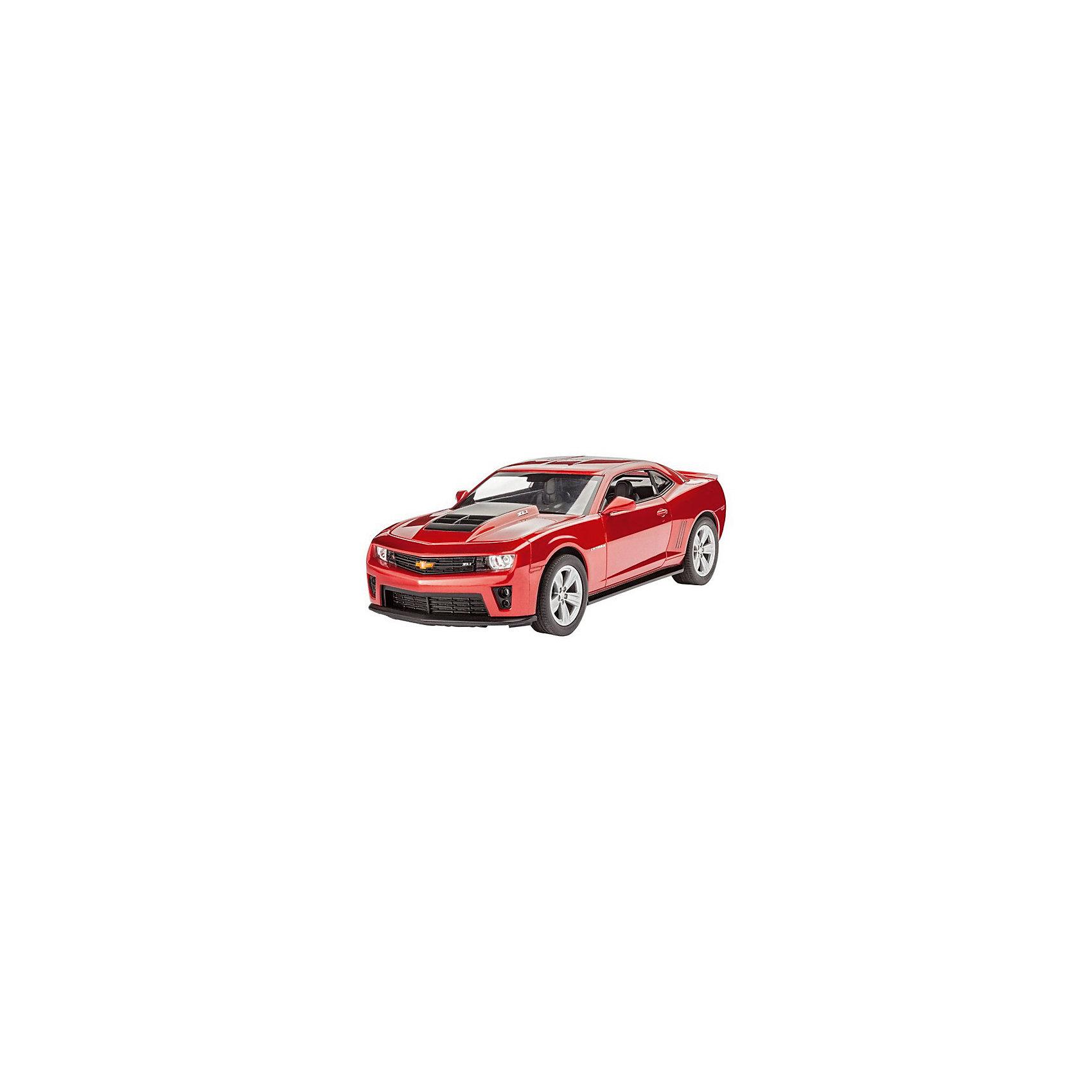 Автомобиль 2013 Camaro ZL-1Модели для склеивания<br>Сборная модель автомобиля Camaro ZL-1 версии 2013 года. Модель выполнена из пластика в масштабе 1 к 25. Данную модель можно собрать без клея, кроме того корпус машинки уже окрашен и в него вставлено остекление. Поэтому данная модель идеально подойдет для первого знакомства ребенка с моделизмом.  <br><br>Для прочности мы рекомендуем вам все-таки использовать клей для пластика при сборке. Также вам необходимо будет приобрести краски для окраски внутренних элементов машинки.  <br>В комплект включены декали (переводные наклейки), которые помогут нанести на модель номерные знаки. В том числе и версию российских номерных знаков. Также в комплекте две металлические оси для колес. С их помощью ребенок сможет собрать машинку с рабочими колесами <br>Масштаб 1:25  <br>Модель состоит из 48 деталей. <br>Длина модели в собранном виде 19,4 см. <br>Рекомендуется для детей от 10 лет.<br><br>Ширина мм: 9999<br>Глубина мм: 9999<br>Высота мм: 9999<br>Вес г: 9999<br>Возраст от месяцев: 120<br>Возраст до месяцев: 2147483647<br>Пол: Мужской<br>Возраст: Детский<br>SKU: 7122351