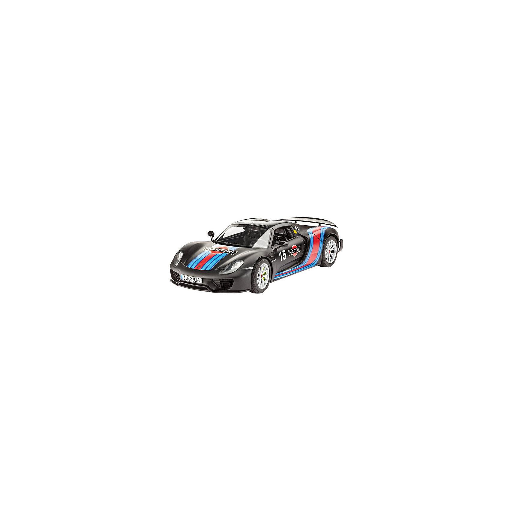 Автомобиль Porsche 918 Spyder Weissach Sport VersionМодели для склеивания<br>Компания Revell предлагает любителям быстрой езды спортивную модель автомобиля Porsche 918 Spyder. Это яркая и красивая машина, мимо которой нельзя просто пройти! Модель поражает своей реалистичностью и огромным сходством с оригиналом. Подвеска, электродвигатель и салон точь в точь напоминают своего большого родственника.  <br><br>Размер машины равен 19,4 см. Что еще сильнее удивляет! Как в такой малютке смогли совместить все подробности строения оригинала?! Количество частей, из которых состоит модель — 120.  <br><br>В комплекте декали на спортивный вариант Porsche 918 Spyder Weissach Sport Version <br><br>Рекомендованный возраст  — 10 лет и выше.<br><br>Ширина мм: 9999<br>Глубина мм: 9999<br>Высота мм: 9999<br>Вес г: 9999<br>Возраст от месяцев: 120<br>Возраст до месяцев: 2147483647<br>Пол: Мужской<br>Возраст: Детский<br>SKU: 7122353