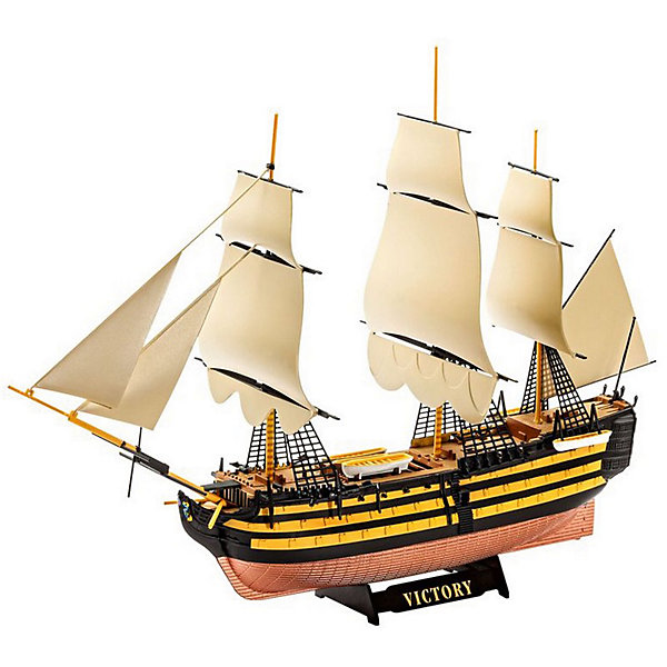 Линейный корабль первого ранга Королевского флота Великобритании HMS VictoryМодели для склеивания<br>Сборная модель парусника Королевского флота Великобритании HMS Victory. Линейный корабль первого ранга Виктори изготовлен из пластика в масштабе 1 к 450.  <br><br>Модель состоит из 45 элементов. В собранном виде парусник имеет длину 22,4 см. Общая высота модели - 15,1 см. <br><br>Процесс сборки модели максимально упрощен. Все детали уже окрашены в базовые цвета. Поэтому при желании после сборки можно будет окрасить только отдельные элементы.  <br><br>В набор включены бумажные флаги Королевского флота Великобритании. Они сделают модель более аутентичной. <br><br>В комплект не входят краски, клей и другие расходные аксессуары. Они приобретаются отдельно.  <br><br>Модель рекомендуется для взрослых и детей от 10 лет.<br><br>Ширина мм: 311<br>Глубина мм: 46<br>Высота мм: 183<br>Вес г: 240<br>Возраст от месяцев: 120<br>Возраст до месяцев: 2147483647<br>Пол: Мужской<br>Возраст: Детский<br>SKU: 7122367