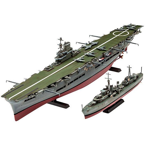 Авианосец Королевских ВМС Великобритании и эскадренный миноносец типа «Трайбл»Корабли и подводные лодки<br>Этот набор моделей от Revell позволит вам собрать сразу два британских корабля в масштабе 1 к 720. В комплект входят пластиковые детали для сборки  авианосца Ark Royal и миноносца типа Tribal. Обе модели необходимо склеить, а затем покрасить. <br>Модели состоят из 110 деталей. Декаль для покраски авианосца в схему 1939-1941 годов, а также для эсминца F75 Eskimo.   <br>Внимание! Все расходные материалы, такие как краски и клей покупаются самостоятельно. В набор они не входят. <br>Набор моделей рекомендуется для детей в возрасте от 12 лет.<br><br>Ширина мм: 439<br>Глубина мм: 47<br>Высота мм: 135<br>Вес г: 283<br>Возраст от месяцев: 144<br>Возраст до месяцев: 2147483647<br>Пол: Мужской<br>Возраст: Детский<br>SKU: 7122369