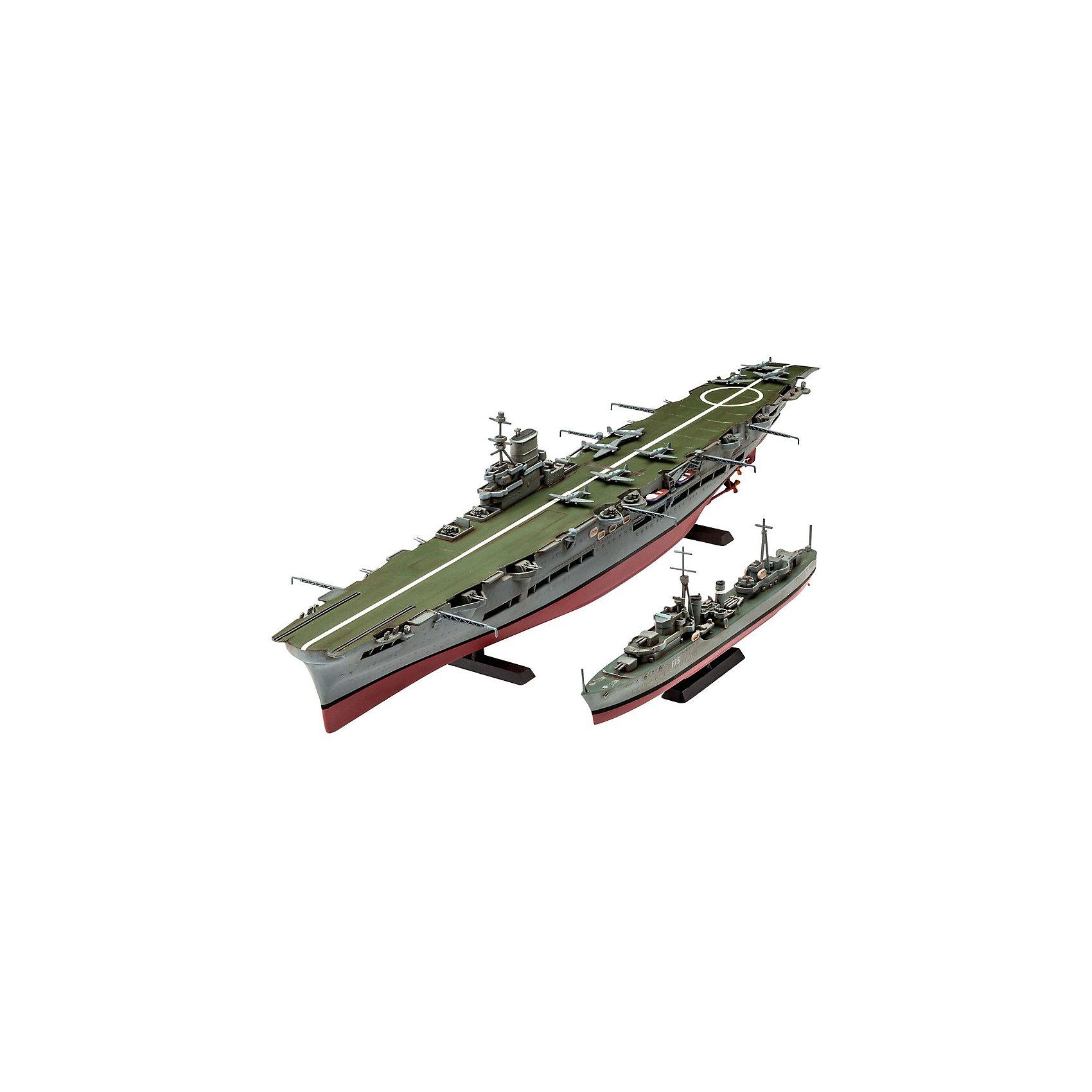 Авианосец Королевских ВМС Великобритании и эскадренный миноносец типа «Трайбл»Модели для склеивания<br>Этот набор моделей от Revell позволит вам собрать сразу два британских корабля в масштабе 1 к 720. В комплект входят пластиковые детали для сборки  авианосца Ark Royal и миноносца типа Tribal. Обе модели необходимо склеить, а затем покрасить. <br>Модели состоят из 110 деталей. Декаль для покраски авианосца в схему 1939-1941 годов, а также для эсминца F75 Eskimo.   <br>Внимание! Все расходные материалы, такие как краски и клей покупаются самостоятельно. В набор они не входят. <br>Набор моделей рекомендуется для детей в возрасте от 12 лет.<br><br>Ширина мм: 9999<br>Глубина мм: 9999<br>Высота мм: 9999<br>Вес г: 9999<br>Возраст от месяцев: 144<br>Возраст до месяцев: 2147483647<br>Пол: Мужской<br>Возраст: Детский<br>SKU: 7122369