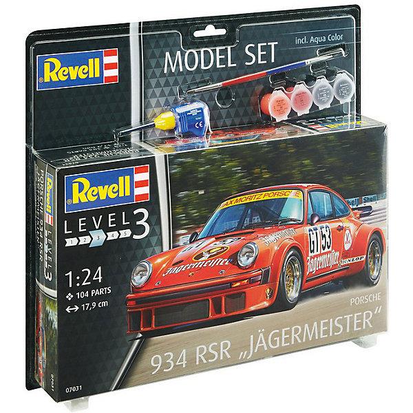 Набор Автомобиль Porsche 934 RSR J?germeisterАвтомобили<br>Сборная модель автомобиль Porsche 934 RSR от Revell в масштабе 1:24 с уникальной спортивной ливреей. Модель может похвастаться интересной раскраской Jagermeister от гоночной команды Max-Moritz Racing Team. <br>Сама модель собирается из 104 пластиковых деталей. Капот машины открываются, колеса вращаются. Длина модели 17,9. <br>Детализованная декаль содержит всю символику команды, гоночные номера и логотипы спонсоров.  <br>Модель для детей от 10 лет. <br>Внимание! В набор не входят инструменты для сборки. Помимо деталей и руководства по сборке в комплект включены клей, кисточка и акриловые краски базовых цветов.<br>Ширина мм: 370; Глубина мм: 340; Высота мм: 68; Вес г: 654; Возраст от месяцев: 120; Возраст до месяцев: 2147483647; Пол: Мужской; Возраст: Детский; SKU: 7122372;
