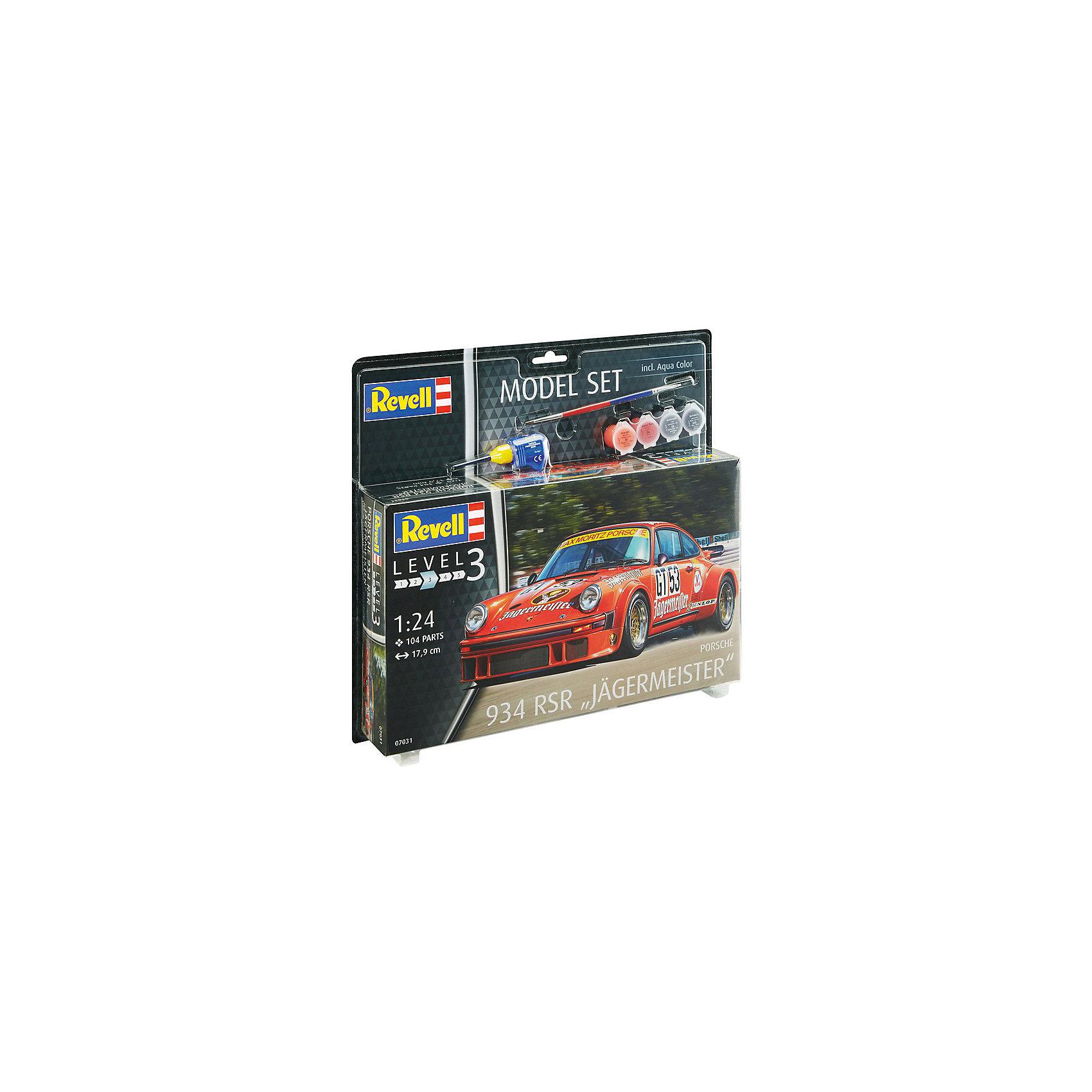 Набор Автомобиль Porsche 934 RSR J?germeisterМодели для склеивания<br>Сборная модель автомобиль Porsche 934 RSR от Revell в масштабе 1:24 с уникальной спортивной ливреей. Модель может похвастаться интересной раскраской Jagermeister от гоночной команды Max-Moritz Racing Team. <br>Сама модель собирается из 104 пластиковых деталей. Капот машины открываются, колеса вращаются. Длина модели 17,9. <br>Детализованная декаль содержит всю символику команды, гоночные номера и логотипы спонсоров.  <br>Модель для детей от 10 лет. <br>Внимание! В набор не входят инструменты для сборки. Помимо деталей и руководства по сборке в комплект включены клей, кисточка и акриловые краски базовых цветов.<br><br>Ширина мм: 9999<br>Глубина мм: 9999<br>Высота мм: 9999<br>Вес г: 9999<br>Возраст от месяцев: 120<br>Возраст до месяцев: 2147483647<br>Пол: Мужской<br>Возраст: Детский<br>SKU: 7122372