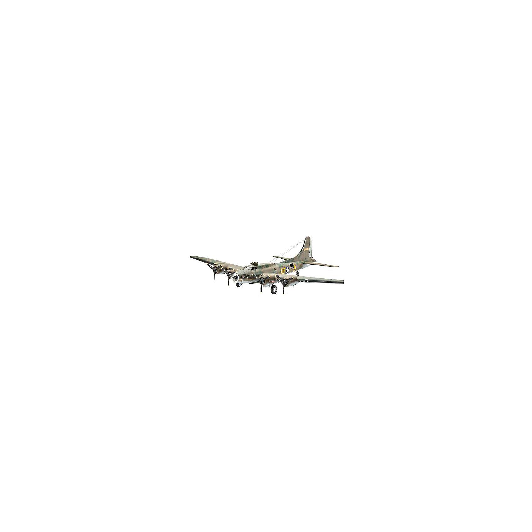 """Самолет B-17F Memphis Belle, ВВС СШАМодели для склеивания<br>B-17 – американский тяжелый бомбардировщик. Этот самолет, прозванный """"Летающей крепостью"""", стал первым серийным цельнометаллическим бомбардировщиком ВВС США.  В СССР самолет не поставлялся, однако к концу войны советские летчики использовали около 20 B-17. Все они были восстановлены из 70 самолетов, которые ранее совершили вынужденную посадку на территории СССР. В наших ВВС бомбардировщики B-17 по прямому назначению не использовались. <br>Масштаб: 1:72 <br>Количество деталей:235 <br>Длина модели: 325 мм <br>Размах крыльев: 440 мм <br>Уровень сложности: 5 <br>Краски и клей в комплект не входят.<br><br>Ширина мм: 437<br>Глубина мм: 248<br>Высота мм: 112<br>Вес г: 670<br>Возраст от месяцев: 156<br>Возраст до месяцев: 2147483647<br>Пол: Мужской<br>Возраст: Детский<br>SKU: 7122381"""