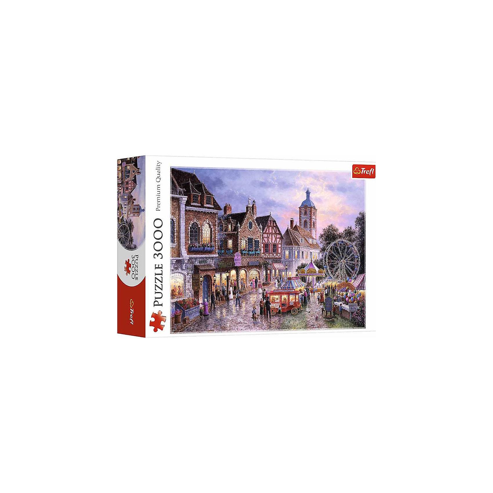 Пазлы Парк с аттракционами, 3000 элементовПазлы для детей постарше<br>Количество деталей: 3000 штук. <br>Размер изображения: 116х85 см. <br>Размер коробки: 39,8х26,6х9 см. <br>Стилизованный под старинную картину пазл «Парк аттракционов» позволяет собрать из деталей разнообразной формы изображение ярмарки, приехавшей в город, с каруселью, воздушными шарами, передвижным вагончиком с медвежатами и, конечно же, колесом обозрения. Красивый и нежный пазл будет отличным подарком для всех любителей спокойных игр старше 15 лет. <br>Этот пазл из категории игр, предназначенных для взрослых. На сборку 3000 деталей понадобится большое количество терпения, внимательности и времени. Но это очень увлекательный и интересный процесс, оторваться от которого практически невозможно! <br>Его производитель - известный польский бренд Trefl, зарекомендовавший себя у детей и взрослых из различных стран мира своими пазлами. Эти картинки не только разнообразны в сюжетах и стилях, но еще и очень качественны. Ведь детали пазлов Trefl выполнены из каландрированной бумаги, что обеспечивает им долговечность, яркий и насыщенный цвет, не стирающийся со временем, и великолепное качество. А, кроме того, игра изготовлена из экологически чистых материалов, что немаловажно на сегодняшний день.<br><br>Ширина мм: 266<br>Глубина мм: 398<br>Высота мм: 90<br>Вес г: 1950<br>Возраст от месяцев: 180<br>Возраст до месяцев: 2147483647<br>Пол: Унисекс<br>Возраст: Детский<br>SKU: 7126286