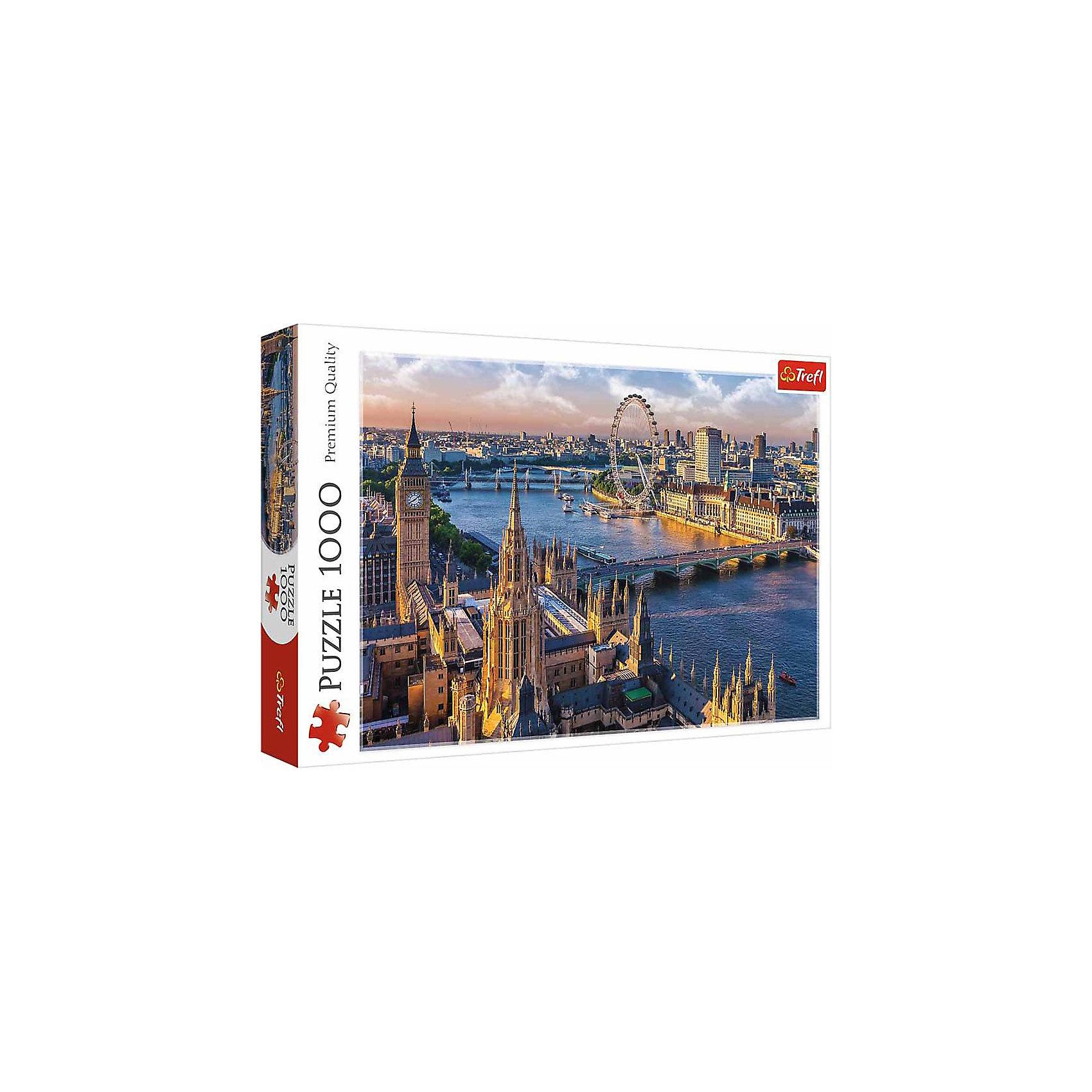 Пазлы Trefl Лондон, 1000 деталейПазлы для детей постарше<br>Очутитесь в Англии вместе с пазлом Лондон от знаменитого бренда Trefl! Очень красочная и насыщенная картинка, на которой изображены башни Биг Бен на фоне Тауэрского моста, окруженного Лондонскими домами, парк развлечений с колесом обозрения. Конечно же тут не обошлось без реки с ее многочисленными лодками. Собрав эту картинку, можно будет украсить ей стену как дома, так и на даче. Если вы задумались о подарке друзьям, то пазл Лондон на рассвете это просто отличный вариант! Ведь собирать пазлы можно как одному, так и в компании друзей. Детали изготовлены из очень качественного картона с антибликовым покрытием. <br>Изображение включает в себя 1000 элементов. <br>Рекомендуемый возраст: от 12 лет.<br><br>Ширина мм: 400<br>Глубина мм: 270<br>Высота мм: 60<br>Вес г: 850<br>Возраст от месяцев: 36<br>Возраст до месяцев: 120<br>Пол: Унисекс<br>Возраст: Детский<br>SKU: 7126315