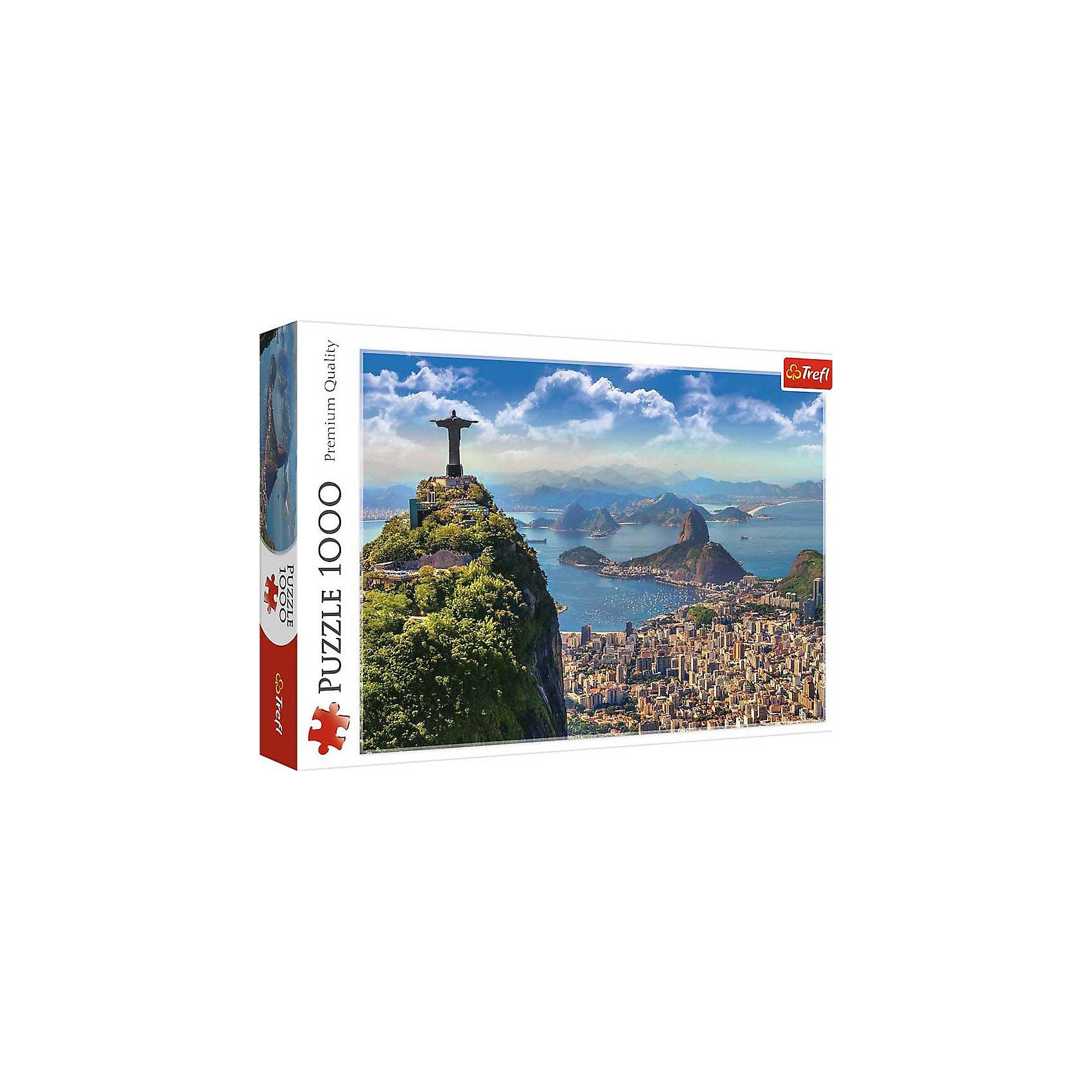 Пазлы Trefl Рио-де-Жанейро, 1000 деталейПазлы для детей постарше<br>Очутитесь в Бразилии вместе с пазлом Рио-де-Жанейро от знаменитого бренда Trefl! Очень красочная и насыщенная картинка, на которой изображен главный символ Бразилии - Статуя Христа-Искупителя, которая стоит на горе. Внизу расположен город Рио-де-Жанейро, с его красивейшим пляжем и многочисленными домами. Собрав эту картинку, можно будет украсить ей стену как дома, так и на даче. Если вы задумались о подарке друзьям, то пазл Рио-де-Жанейро это просто отличный вариант! Ведь собирать пазлы можно как одному, так и в компании друзей. Детали изготовлены из очень качественного картона с антибликовым покрытием. <br>Изображение включает в себя 1000 элементов. <br>Рекомендуемый возраст: от 12 лет.<br><br>Ширина мм: 400<br>Глубина мм: 270<br>Высота мм: 60<br>Вес г: 850<br>Возраст от месяцев: 36<br>Возраст до месяцев: 120<br>Пол: Унисекс<br>Возраст: Детский<br>SKU: 7126316