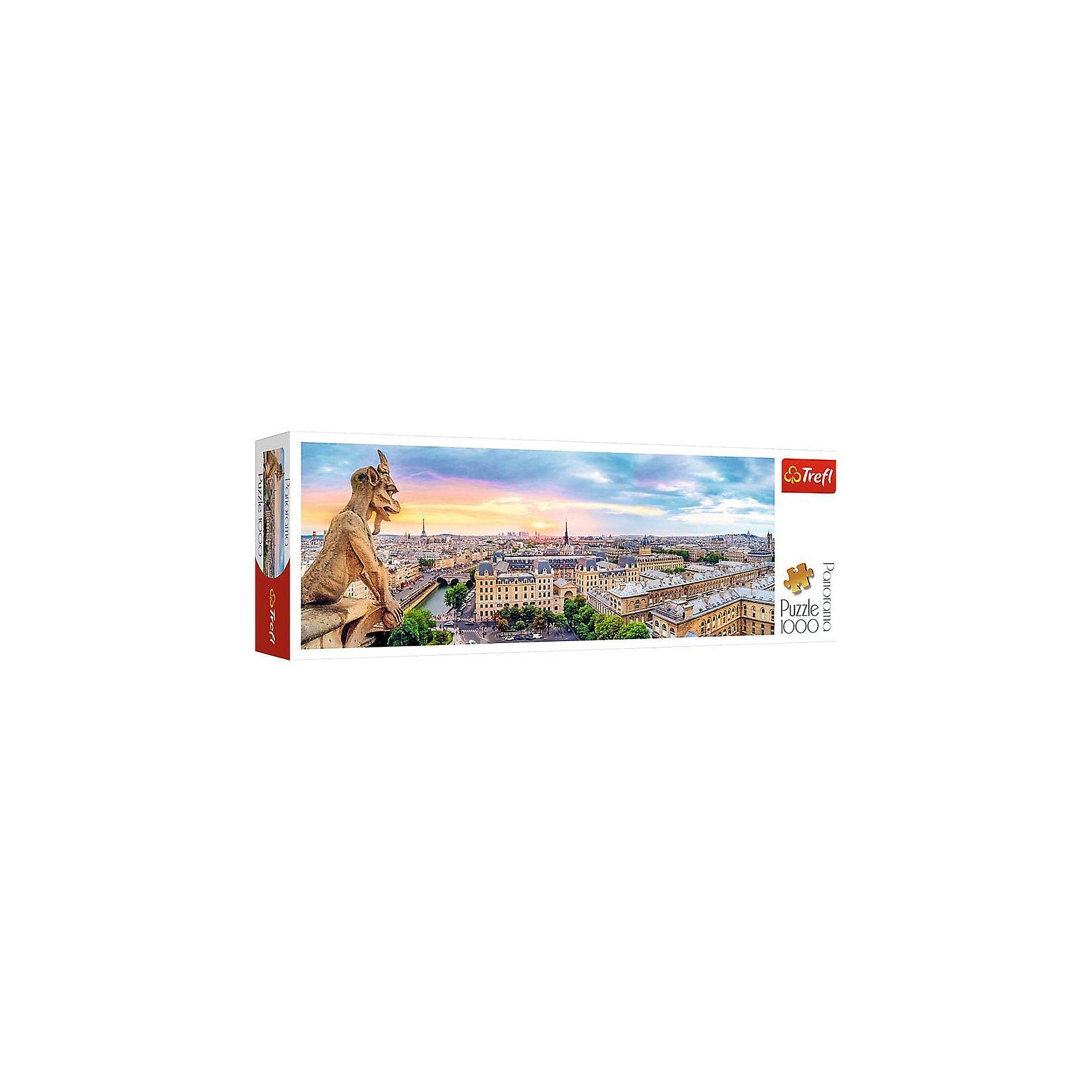 Пазлы панорамные Trefl «Вид с собора Нотр-Дам», 1000 элементовПазлы для детей постарше<br>Очутитесь во Франции вместе с панорамный пазлом Вид с собора Нотр-Дам от известного бренда Trefl! На панораме виден весь Париж с его великолепной архитектурой. Над Парижем виднеется закат солнца. Небо меняет свой цвет от голубого до красновато-оранжевого от уходящего солнца. Такой картиной вы сможете украсить стену в своем доме или на даче. Ну а если вам нужно придумать подарок для друзей этот пазл именно то, что вам нужно! Подобное приобретение отлично поможет вам в моменты одиночества, когда можно тихо пособирать пазлы и подумать о хорошем. <br>Детали пазла выполнены из высококачественного картона с антибликовым покрытием. <br>Изображение включает в себя 1000 элементов. <br>Рекомендуемый возраст: от 9 лет.<br><br>Ширина мм: 400<br>Глубина мм: 135<br>Высота мм: 67<br>Вес г: 850<br>Возраст от месяцев: 108<br>Возраст до месяцев: 144<br>Пол: Унисекс<br>Возраст: Детский<br>SKU: 7126325