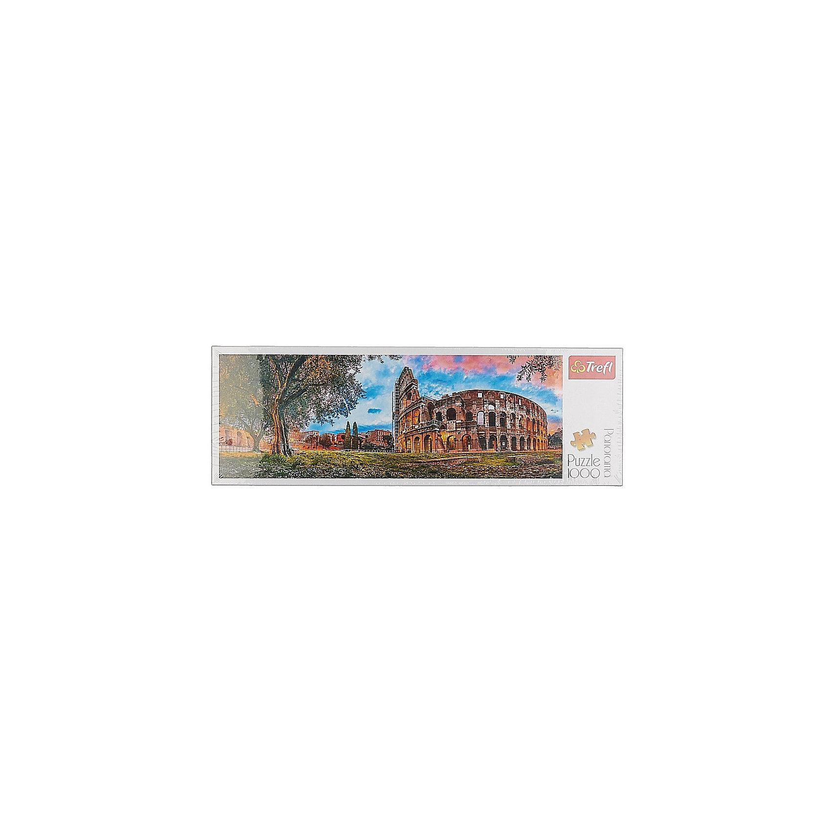 Пазлы панорамные «Колизей утром», 1000 элементовПазлы для детей постарше<br>Пазлы панорамные «Колизей утром», 1000 элементов – это просто шедевр в вашем исполнении. Вы получите колоссальное удовольствие от соединения деталей, выполненных из высококачественного картона с антибликовым покрытием. На картинке изображен Колизей на фоне красочной осенней растительности, а также великолепного восхода солнца на фоне розово-голубого облачного неба. Размер собранной картинки: 97х34 сантиметра. Собрав пазл, вы сможете украсить им стену как дома, так и на даче. Этот пазл также отлично подойдет для подарка друзьям.<br>Пазлы продаются в коробке из плотного картона. Ее размер: 40,1х27х6 см.<br>Рекомендуемый возраст: от 14 лет.<br><br>Ширина мм: 401<br>Глубина мм: 270<br>Высота мм: 60<br>Вес г: 750<br>Возраст от месяцев: 168<br>Возраст до месяцев: 2147483647<br>Пол: Унисекс<br>Возраст: Детский<br>SKU: 7126326