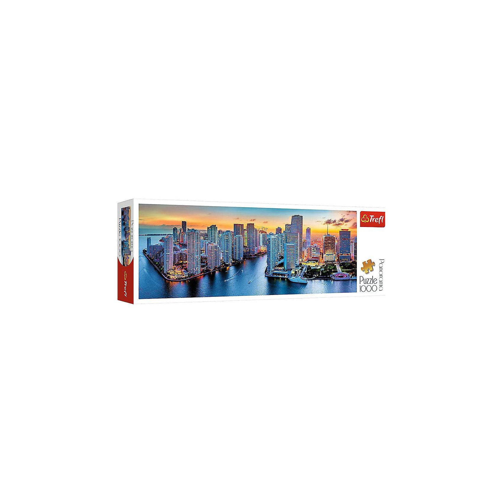 Пазлы панорамные Trefl «Майами в сумерки», 1000 элементовПазлы для детей постарше<br>Очутитесь во Флориде вместе с панорамный пазлом Майами в сумерки от известного бренда Trefl! На панораме изображен великолепный город Майами на закате солнца. Многочисленные башни домов, в которых горит свет, окружены водой. Небо очень красиво переливается оранжевыми тонами. На набережной расположен парк, с его лавочками и зеленой зоной. По воде плывут корабли. Такой картиной вы сможете украсить стену в своем доме или на даче. Ну а если вам нужно придумать подарок для друзей этот пазл именно то, что вам нужно! Подобное приобретение отлично поможет вам в моменты одиночества, когда можно тихо пособирать пазлы и подумать о хорошем. <br>Детали пазла выполнены из высококачественного картона с антибликовым покрытием. <br>Изображение включает в себя 1000 элементов. <br>Рекомендуемый возраст: от 9 лет.<br><br>Ширина мм: 400<br>Глубина мм: 135<br>Высота мм: 67<br>Вес г: 850<br>Возраст от месяцев: 108<br>Возраст до месяцев: 144<br>Пол: Унисекс<br>Возраст: Детский<br>SKU: 7126327