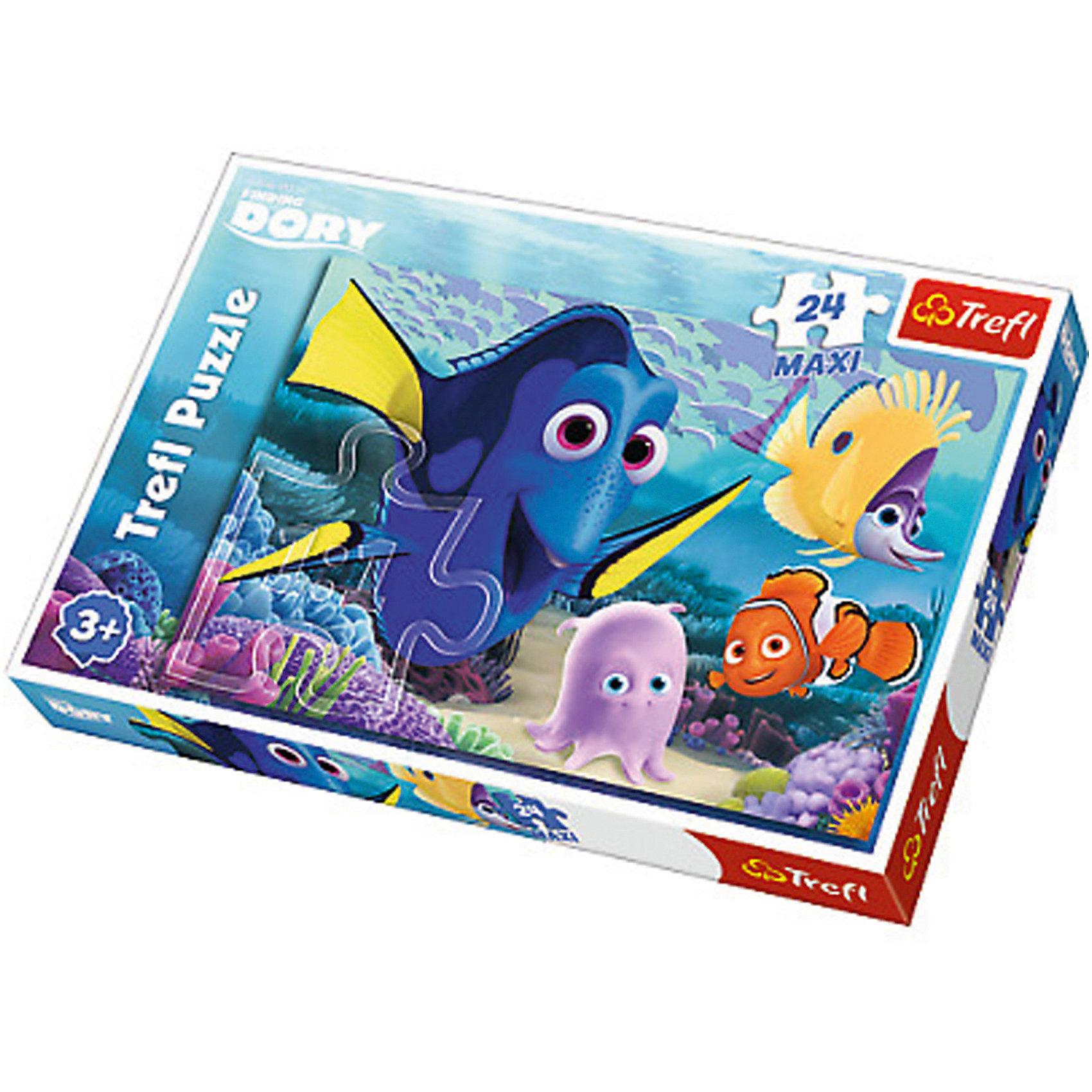 Пазл Дисней «В поисках Дори», 24 элементаВ поисках Дори<br>Пазл Дисней «В поисках Дори»  поможет вашему ребенку очутиться в мире подводных приключений вместе с любимыми персонажами мультфильма. На яркой красочной картинке, на фоне подводной растительности, изображены известные персонажи – Немо, Дори и многие другие. Дори – это жизнерадостная синяя рыбка с яркими желтыми плавниками. Немо – рыбка-клоун с оранжево-белой окраской. Собрав картинку, ребенок сможет украсить ей стену в своей комнате. <br>Пазлы выполнены из плотного картона высокого качества и легко складываются между собой. <br>Пазл включает в себя 24 элемента. Размер картинки в собранном виде: 60 х 40 см. <br>Рекомендуемый возраст – от 3 лет.<br><br>Ширина мм: 398<br>Глубина мм: 45<br>Высота мм: 266<br>Вес г: 700<br>Возраст от месяцев: 36<br>Возраст до месяцев: 120<br>Пол: Унисекс<br>Возраст: Детский<br>SKU: 7126332