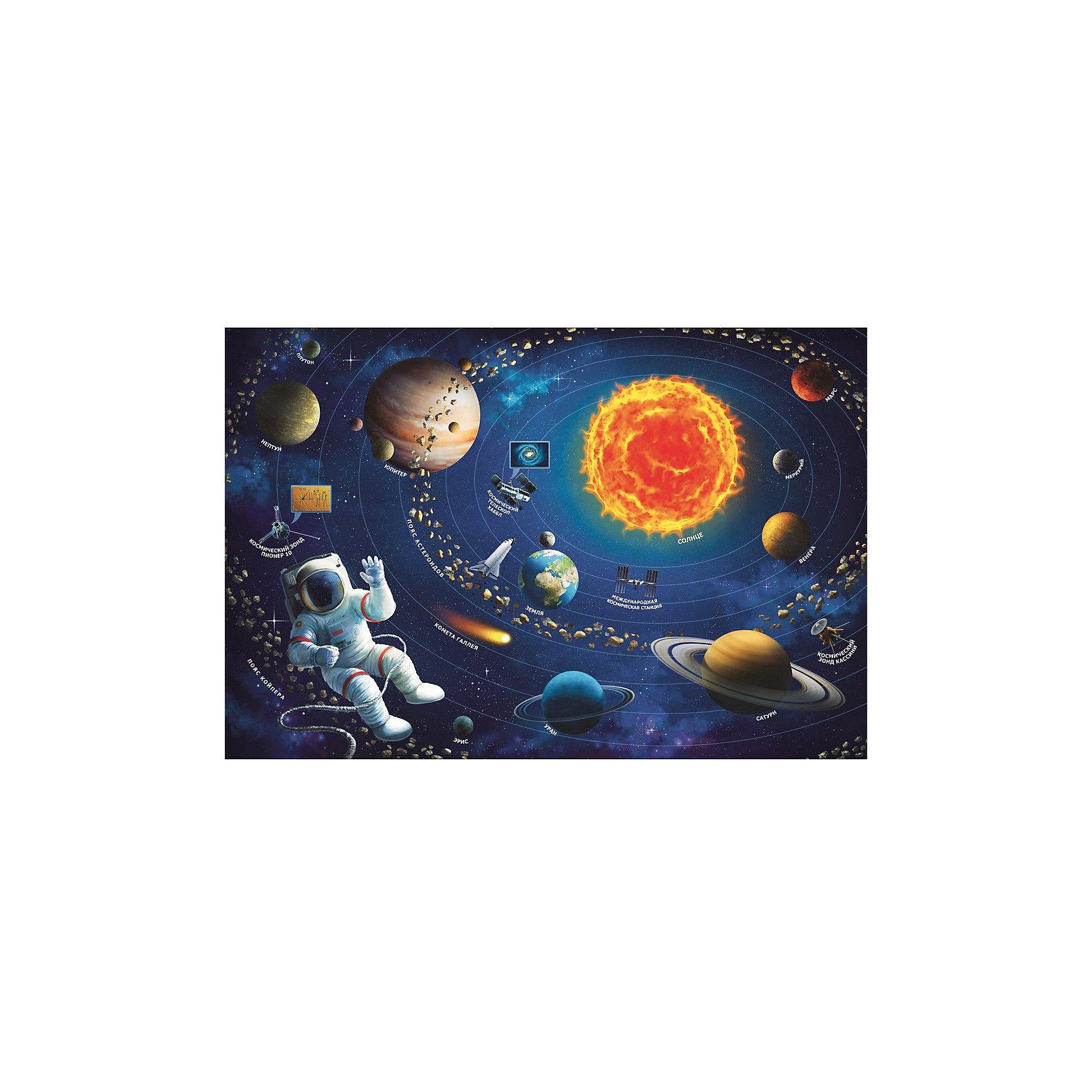 Пазлы Солнечная система, 100 деталейПазлы для малышей<br>Пазлы Солнечная система позволят ребенку ознакомиться с содержимым загадочного космического мира. Собрав все элементы, ребенок сможет узнать, где располагаются различные планеты, как они называются и на каком удалении они находятся от яркого горячего солнца. На темно-синем фоне изображены красочные планеты, вместе с их названиями, также там вы найдете космонавта в белом скафандре, а также космические станции и летательные аппараты. <br>Набор включает в себя 100 элементов. <br>Пазлы продаются в закрытой упаковке из плотного картона, на которой изображено ее содержимое. <br>Рекомендуемый возраст: от 6 лет.<br><br>Ширина мм: 230<br>Глубина мм: 330<br>Высота мм: 60<br>Вес г: 590<br>Возраст от месяцев: 72<br>Возраст до месяцев: 144<br>Пол: Унисекс<br>Возраст: Детский<br>SKU: 7126335