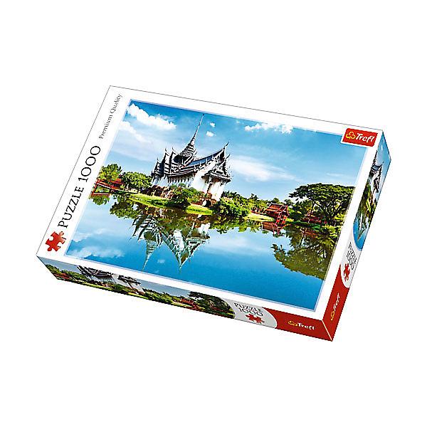 Пазлы «Санпхет Прасат Дворец», 1000 деталейПазлы классические<br>Характеристики товара:<br><br>• количество деталей: 1000 шт.;<br>• размер картинки: 68х48 см;<br>• возраст: от 12 лет;<br>• материал: картон;<br>• размер упаковки: 40х6х27 см;<br>• страна бренда: Польша;<br>• страна производитель: Польша.<br><br>Пазлы «Санпхет Прасат Дворец» - прекрасная возможность провести время с пользой и мысленно очутиться рядом с известной Тайской достопримечательностью. На картинке изображен дворец Санпхет Прасат и водная гладь, озаряемые яркими лучами солнца. Картинку можно дополнить рамочкой и украсить ею свою комнату.<br><br>Пазлы изготовлены из высококачественного картона. Он не склонен к деформации и не выцветает на солнце, поэтому готовая картинка будет долго радовать глаз. Изображение состоит из 1000 элементов. Сборка пазлов развивает мелкую моторику, координацию движений, логическое мышление и усидчивость.<br><br>Пазлы «Санпхет Прасат Дворец», 1000 деталей, Trefl (Трефл) можно купить в нашем интернет-магазине.<br>Ширина мм: 410; Глубина мм: 378; Высота мм: 270; Вес г: 750; Возраст от месяцев: 144; Возраст до месяцев: 2147483647; Пол: Унисекс; Возраст: Детский; SKU: 7126341;