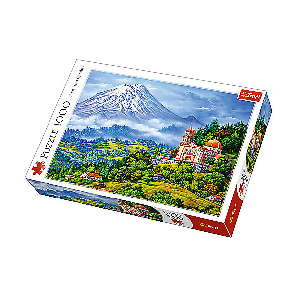 Пазлы «Пейзаж с вулканом», 1000 деталейПазлы для детей постарше<br>Характеристики товара:<br><br>• количество деталей: 1000 шт.;<br>• размер картинки: 68х48 см;<br>• возраст: от 12 лет;<br>• материал: картон;<br>• размер упаковки: 40х6х27 см;<br>• страна бренда: Польша;<br>• страна производитель: Польша.<br><br>Пазлы «Пейзаж с вулканом» - прекрасная возможность провести время с пользой и мысленно очутиться в деревушке, расположенной у подножия вулкана. На картинке изображен прекрасный домик, утопающий в зелени. А на задней плане отчетливо виднеется вулкан. Картинку можно дополнить рамочкой и украсить ею свою комнату.<br><br>Пазлы изготовлены из высококачественного картона. Он не склонен к деформации и не выцветает на солнце, поэтому готовая картинка будет долго радовать глаз. Изображение состоит из 1000 элементов. Сборка пазлов развивает мелкую моторику, координацию движений, логическое мышление и усидчивость.<br><br>Пазлы «Пейзаж с вулканом», 1000 деталей, Trefl (Трефл) можно купить в нашем интернет-магазине.<br><br>Ширина мм: 410<br>Глубина мм: 378<br>Высота мм: 270<br>Вес г: 750<br>Возраст от месяцев: 144<br>Возраст до месяцев: 2147483647<br>Пол: Унисекс<br>Возраст: Детский<br>SKU: 7126343