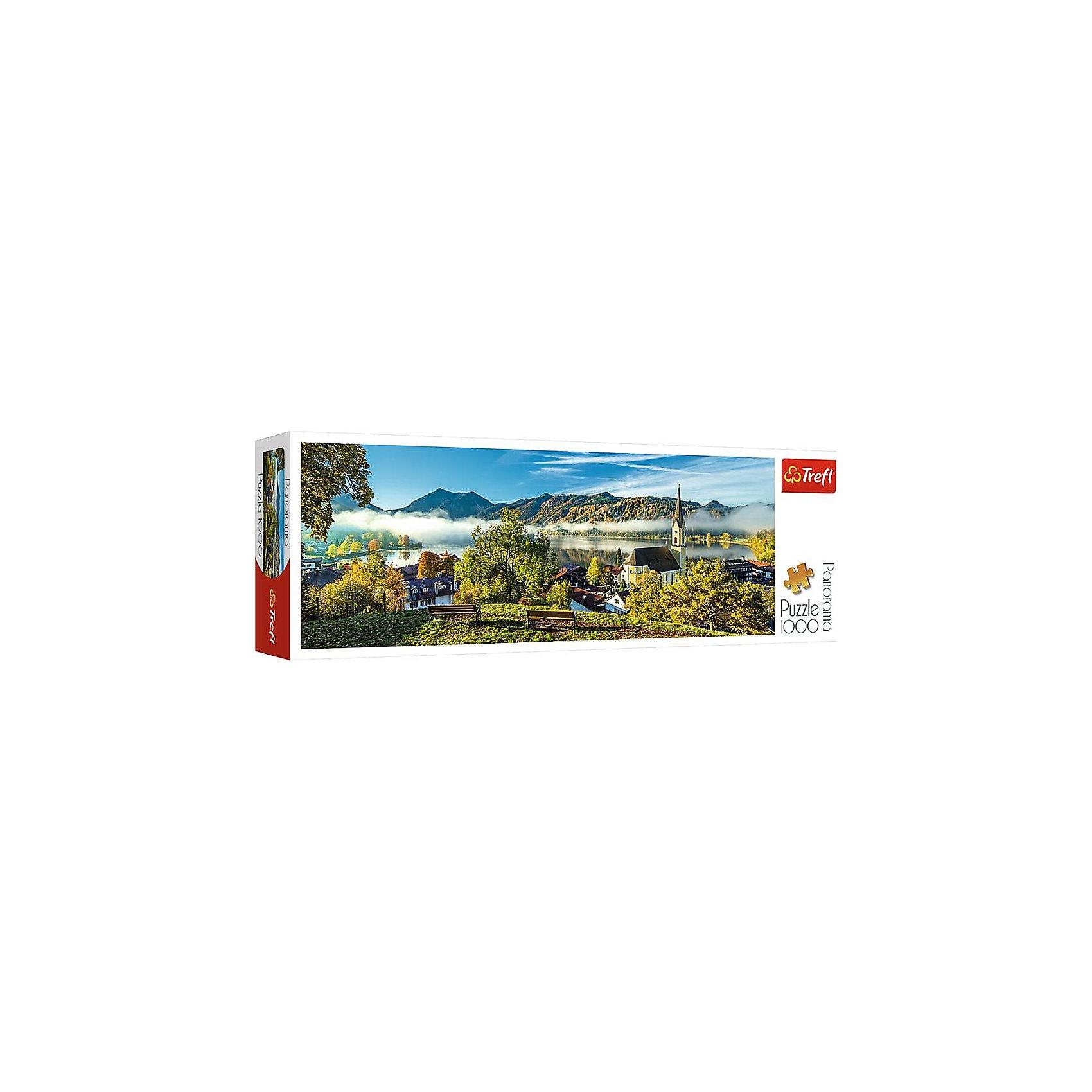 Пазлы панорамные «На берегу озера, Шлирзе», 1000 деталейПазлы для детей постарше<br>Панорамный пазл на 1000 деталей «Озеро Шлирзе» от Trefl – это большой, красивый и удивительно удачно пойманный фотографом кадр немецкого озера: небольшая аккуратная деревушка, чистая водная гладь и дымка, застилающая Баварские Альпы. Такую картину приятно собрать и повесить у себя дома. <br>А благодаря исключительному качеству пазлов Trefl в собранном виде «Озеро Шлирзе» будет по-настоящему привлекательно смотреться в любой комнате. Каландрированный картон (с повышенным лоском и гладкостью), а также фирменные, невероятно насыщенные и при этом экологически чистые краски Trefl придают изображению фотографическую четкость и реалистичность. А превосходная сцепка элементов картины между собой удовлетворит даже самого искушенного любителя пазлов.<br>Количество деталей: 1000. <br>Размеры картинки в собранном виде: 97х34 см. <br>Размеры коробки: 40х13,5х6,5 см. <br>Вес коробки: 0,7 кг. <br>Пазл предназначен для детей старше 12 лет.<br><br>Ширина мм: 405<br>Глубина мм: 345<br>Высота мм: 135<br>Вес г: 880<br>Возраст от месяцев: 144<br>Возраст до месяцев: 2147483647<br>Пол: Унисекс<br>Возраст: Детский<br>SKU: 7126347