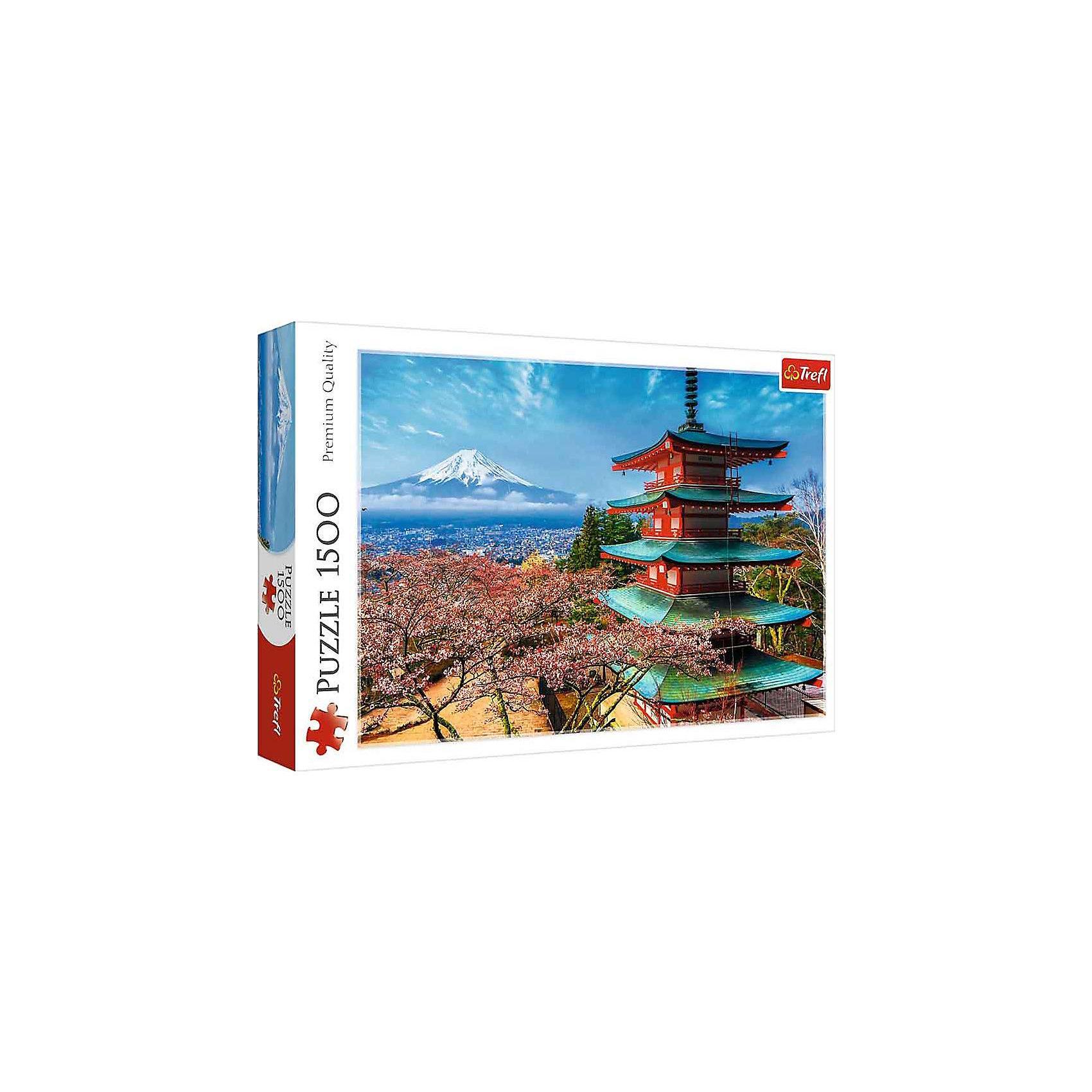 Пазлы «Гора Фудзи», 1500 деталейПазлы для детей постарше<br>Пазл «Гора Фудзи» от Trefl на 1500 деталей – это медитативный вид на самый знаменитый вулкан Японии. Изящная пагода, цветущая сакура, заснеженная вершина и белоснежная вершина в ослепительно голубых небесах – перенеситесь в Страну восходящего солнца вместе с пазлом от Трефл. <br>Процесс сборки этой картины – занятие не только увлекательное, но и приятное. Благодаря повышенной гладкости каландрированного картона, из которого изготовлены элементы «Горы Фудзи», детали хорошо перебирать рукой. А качество их сцепки при этом безупречно. Утолщенный картон позволяет пазлу служить долго, собирать его можно много раз. Антибликовое покрытие позволит делать это при любом освещении. А яркие краски со временем не выцветают. <br>Количество деталей: 1500. <br>Размеры картинки в собранном виде: 85х58 см. <br>Размеры коробки: 40,1х27х6 см. <br>Вес коробки: 1,05 кг. <br>Пазл предназначен для детей старше 12 лет.<br><br>Ширина мм: 410<br>Глубина мм: 378<br>Высота мм: 270<br>Вес г: 980<br>Возраст от месяцев: 144<br>Возраст до месяцев: 2147483647<br>Пол: Унисекс<br>Возраст: Детский<br>SKU: 7126349