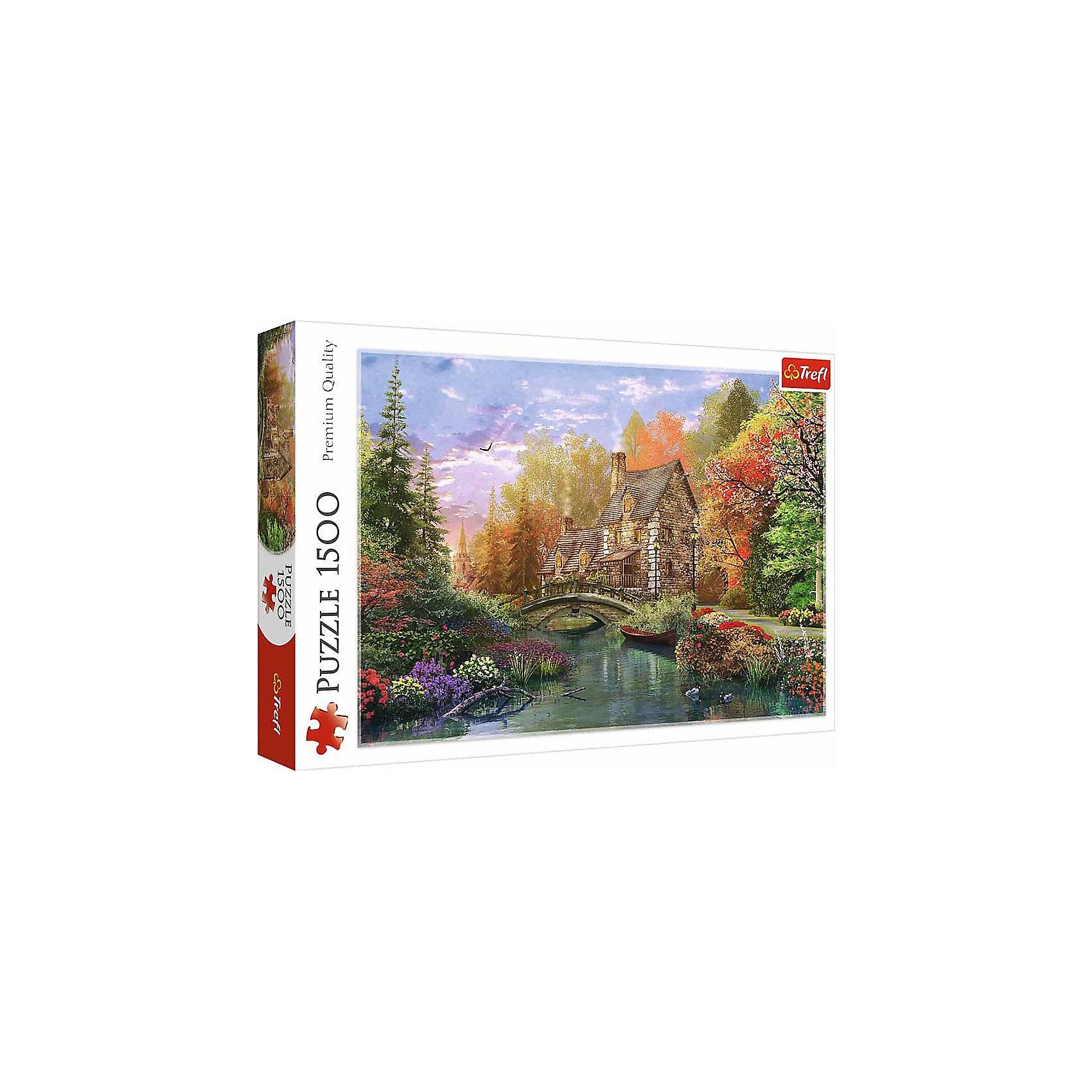 Пазлы «Домик на берегу озера», 1500 деталейПазлы для детей постарше<br>Пазл «Домик на берегу озера» от Trefl на 1500 деталей – это красивая картина, которая понравится любителям природы и уединения. <br>Благодаря высокому качеству и четкости изображения на собранном пазле вы сможете рассмотреть мелкие элементы: плавающих уток, цветы, кирпичную кладку дома. А насыщенные фирменные краски Trefl (которые являются, к тому же, и экологически чистыми) делают такую картину достойным украшением гостиной. <br>Пазл выполнен из каландрированного картона – утолщенного, с повышенной степенью гладкости и лоска. Это позволяет ему перенести множество сборок, быть приятным на ощупь и эффектно смотреться в интерьере. Вместе с тем антибликовое покрытие дает возможность собирать «Домик на берегу озера» при любом освещении. <br>Количество деталей: 1500. <br>Размеры картинки в собранном виде: 85х58 см. <br>Размеры коробки: 40,1х27х6 см. <br>Вес коробки: 1,05 кг. <br>Пазл предназначен для детей старше 12 лет.<br><br>Ширина мм: 410<br>Глубина мм: 378<br>Высота мм: 270<br>Вес г: 980<br>Возраст от месяцев: 144<br>Возраст до месяцев: 2147483647<br>Пол: Унисекс<br>Возраст: Детский<br>SKU: 7126350