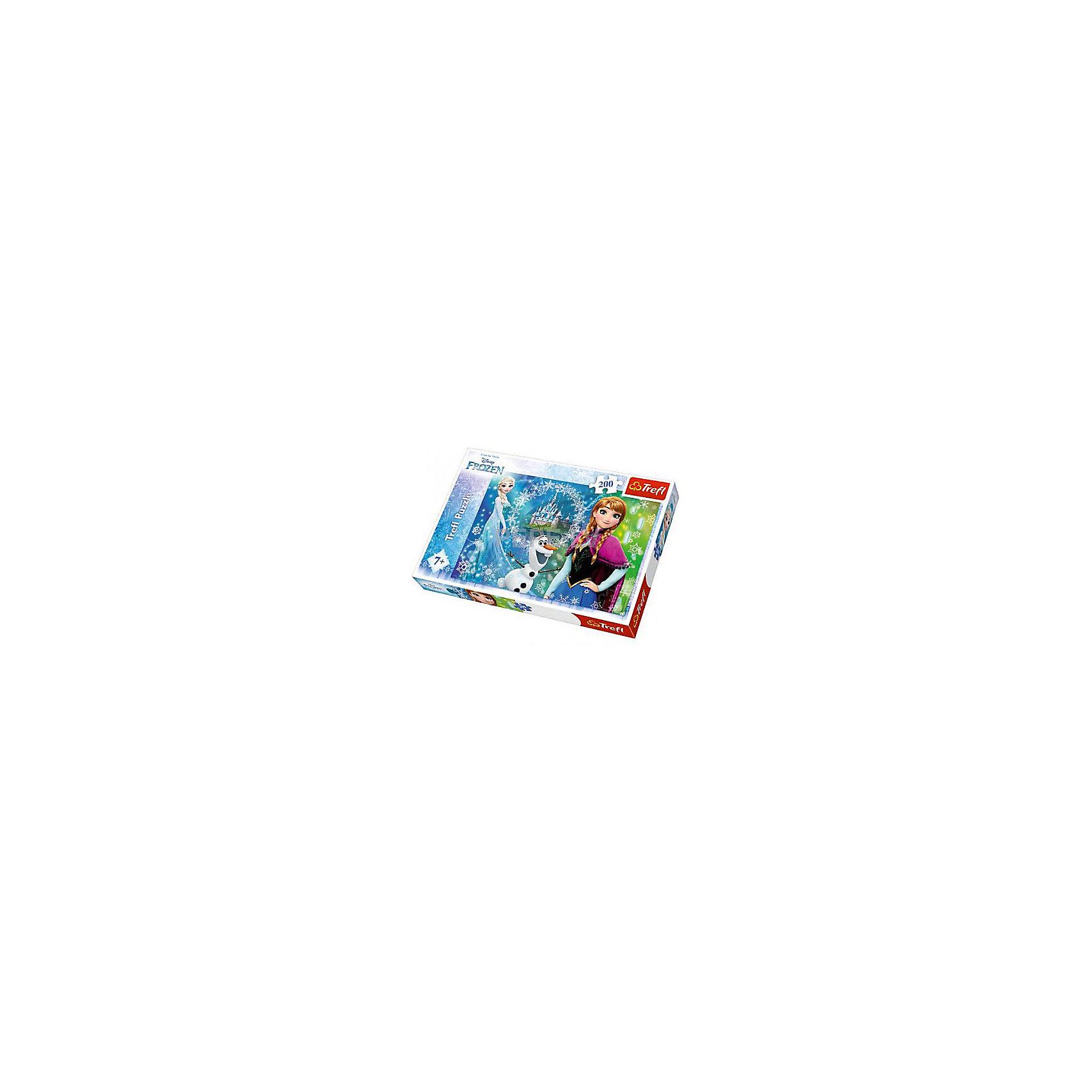 Пазлы «Сила сестер», 200 деталейПопулярные игрушки<br>Пазл Trefl «Сила сестер» на 200 деталей – одна из головоломок-новинок 2016 года, выпущенных польским брендом по мотивам любимых мультфильмов Disney. На этот раз вам предстоит собирать картину с Анной, Эльзой и их другом-снеговиком Олафом из «Холодного сердца». <br>Великолепные яркие (и при этом – экологически чистые) краски делают эту игрушку по-настоящему привлекательной. Во время сборки пазла тренируются мелкая моторика, усидчивость, способность воссоздавать целое из частей. <br>Количество деталей: 200. <br>Размеры картинки в собранном виде: 48х34 см. <br>Размеры коробки: 33,5х23х4 см. <br>Вес коробки: 0,49 кг. <br>Пазл предназначен для девочек старше 7 лет.<br><br>Ширина мм: 350<br>Глубина мм: 470<br>Высота мм: 230<br>Вес г: 490<br>Возраст от месяцев: 84<br>Возраст до месяцев: 144<br>Пол: Унисекс<br>Возраст: Детский<br>SKU: 7126353