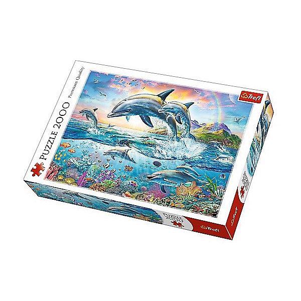 Пазлы «Счастливые дельфины», 2000 деталейПазлы для детей постарше<br>Характеристики товара:<br><br>• количество деталей: 2000 шт.;<br>• размер картинки: 96х68 см;<br>• возраст: от 15 лет;<br>• материал: картон;<br>• размер упаковки: 40,1х27х6 см;<br>• страна бренда: Польша;<br>• страна производитель: Польша.<br><br>Пазлы «Счастливые дельфины» станут прекрасным подарком для любителей морских обитателей. Четкое изображение, выполненное в ярких цветах - отличное украшение любой комнаты в доме. Размер картинки - 96х68 сантиметров.<br><br>Пазл состоит из 2000 элементов, выполненных из плотного картона с антибликовым покрытием. Во время собрания пазлов развиваются мелкая моторика, логическое мышление, координация движений рук, внимательность.<br><br>Пазлы «Счастливые дельфины», 2000 деталей, Trefl (Трефл) можно купить в нашем интернет-магазине.<br><br>Ширина мм: 410<br>Глубина мм: 378<br>Высота мм: 270<br>Вес г: 1210<br>Возраст от месяцев: 180<br>Возраст до месяцев: 2147483647<br>Пол: Унисекс<br>Возраст: Детский<br>SKU: 7126355
