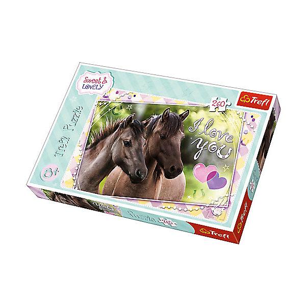Пазлы «Любим лошадей», 260 деталейПазлы для детей постарше<br>Характеристики товара:<br><br>• количество деталей: 260 шт.;<br>• размер картинки: 60х40 см;<br>• возраст: от 6 лет;<br>• материал: картон;<br>• размер упаковки: 37,8х27,8х4,5 см;<br>• страна бренда: Польша;<br>• страна производитель: Польша.<br><br>Пазл «Любим лошадей» - невероятно интересная головоломка для детей дошкольного и младшего дошкольного возраста. Детали пазла изготовлены из утолщенного картона, приятного на ощупь. Собирать данные пазлы можно при любом освещении благодаря специальному антибликовому покрытию. <br><br>Картинка размером 40х60 сантиметров состоит из 260 элементов. На картинке изображены лошади, оформленные рамочками и надписями. Игра с пазлами прекрасно развивает мелкую моторику, внимательность, усидчивость и координацию движений рук.<br><br>Пазлы «Любим лошадей», 260 деталей, Trefl (Трефл) можно купить в нашем интернет-магазине.<br><br>Ширина мм: 410<br>Глубина мм: 378<br>Высота мм: 266<br>Вес г: 670<br>Возраст от месяцев: 72<br>Возраст до месяцев: 144<br>Пол: Унисекс<br>Возраст: Детский<br>SKU: 7126359