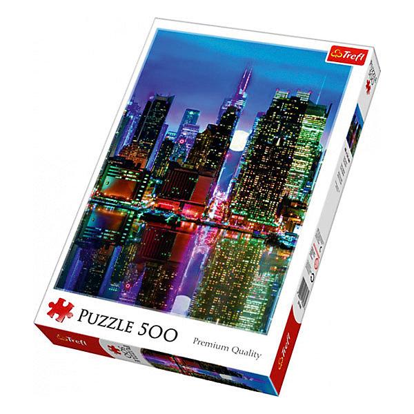 Пазлы «Полная Луна над Манхэтенном», 500 деталейПазлы классические<br>Характеристики товара:<br><br>• количество деталей: 500 шт.;<br>• размер картинки: 48х34 см;<br>• возраст: от 10 лет;<br>• материал: картон;<br>• размер упаковки: 39,8х26,8х4,5 см;<br>• страна бренда: Польша;<br>• страна производитель: Польша.<br><br>Пазлы «Полная луна над Манхэттеном» помогут не только разнообразить досуг, но и провести время с пользой. Кроме того, готовая картинка с изображением небоскребов Манхэттена на фоне полной луны и сияющих огней отлично подойдет для украшения комнаты.<br><br>Яркие краски изображения сохраняются в течение долгого времени. Пазл состоит из 500 деталей, изготовленных из плотного высококачественного картона со специальным антибликовым покрытием. Элементы легко соединяются и не деформируются в процессе использования. Сборка пазлов помогает развить концентрацию внимания, усидчивость, а также мелкую моторику рук.<br><br>Пазлы «Полная Луна над Манхэттеном», 500 деталей, Trefl (Трефл) можно купить в нашем интернет-магазине.<br><br>Ширина мм: 410<br>Глубина мм: 378<br>Высота мм: 266<br>Вес г: 500<br>Возраст от месяцев: 120<br>Возраст до месяцев: 2147483647<br>Пол: Унисекс<br>Возраст: Детский<br>SKU: 7126363
