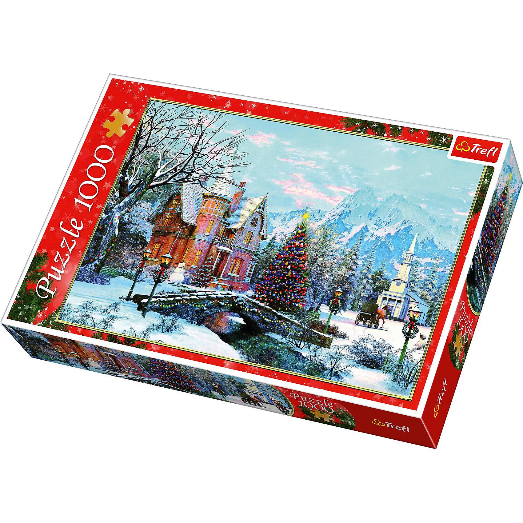 Пазлы Зимний пейзаж, 1000 элементовПазлы для детей постарше<br>Пазлы Trefl 10439 Зимний пейзаж посвящены рождественской тематике. На нем изображен европейский город на фоне гор. Городок готовится к встрече Рождества и имеет соответсвующие украшения в виде праздничной елки, гирлянд и венков. <br><br>Пазл состоит из 1000 деталей. Каждый элемент вырезан из картона при помощи высокоточного оборудования. Это позволяет добиться легкой стыкуемости всех деталей головоломки.<br><br>Мозаика может быть рекомендована для взрослых и подростков от 14 лет. Дети более младшего возраста могут собирать пазл в компании взрослых.<br><br>Ширина мм: 90<br>Глубина мм: 270<br>Высота мм: 60<br>Вес г: 750<br>Возраст от месяцев: 168<br>Возраст до месяцев: 2147483647<br>Пол: Унисекс<br>Возраст: Детский<br>SKU: 7126366