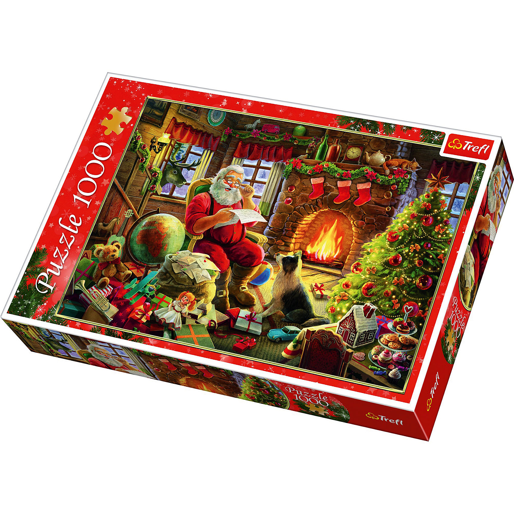 Пазлы Санта Клаус возле камина, 1000 элементовПазлы для детей постарше<br>Пазлы Trefl 10432 Санта Клаус возле камина, 1000 элементов - головоломка оптимальных размеров и сложности. Она заставит подумать головой не только ребенка, но и взрослого. А после сборки картина с изображением Санта Клауса, читающего у камина письма детей, сможет украсить любую комнату.<br><br>Пазл состоит из 1000 картонных деталей. Для самостоятельной сборки он может быть рекомендован для подростков от 14 лет. У детей младшего возраста могут возникнуть сложности при сборе этой мозайки. Поэтому им стоит собирать пазл вместе со взрослыми.<br><br>Ширина мм: 60<br>Глубина мм: 270<br>Высота мм: 60<br>Вес г: 750<br>Возраст от месяцев: 168<br>Возраст до месяцев: 2147483647<br>Пол: Унисекс<br>Возраст: Детский<br>SKU: 7126367