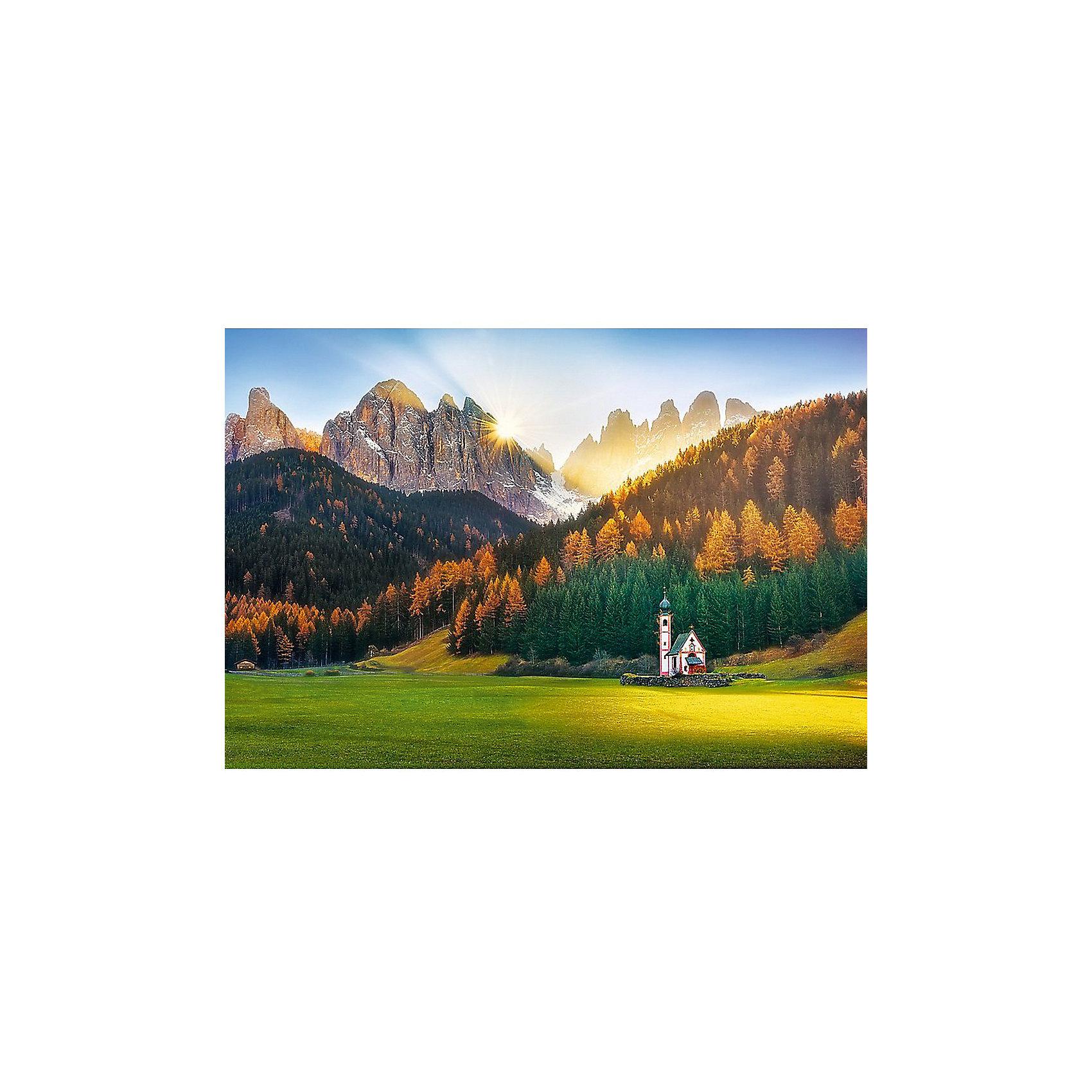 Пазлы Церковь в Доломитовых Альпах, 1500 элементовПазлы для детей постарше<br>Пазл Церковь в Доломитовых Альпах – это красивый пейзаж с небольшой церквушкой на фоне хвойного леса и альпийских гор.<br>Пазл состоит из 1500 элементов. Размер собранной картинки равен 85x58 сантиметров. <br>Элементы пазла выполнены из прочного картона. Он стойко переносит различные внешние воздействия, в том числе и попадание воды. Сами детали вырезаны высокоточными инструментами. Поэтому они хорошо стыкуются между собой.<br>Пазл рекомендуется для взрослых и подростков от 14 лет. Детям младшего возраста рекомендуется собирать этот пазл вместе с взрослыми.<br><br>Ширина мм: 270<br>Глубина мм: 60<br>Высота мм: 400<br>Вес г: 980<br>Возраст от месяцев: 168<br>Возраст до месяцев: 2147483647<br>Пол: Унисекс<br>Возраст: Детский<br>SKU: 7126370