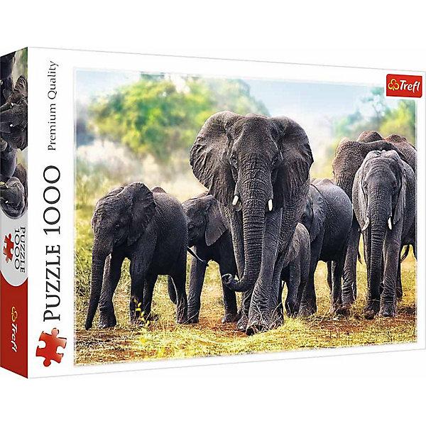 Пазлы Африканские слоны, 1000 элементовПазлы классические<br>Характеристики товара:<br><br>• количество деталей: 1000 шт.;<br>• размер картинки: 68,3х48 см;<br>• возраст: от 12 лет;<br>• материал: картон;<br>• страна бренда: Польша;<br>• страна производитель: Польша.<br><br>Пазлы «Африканские слоны» предназначены для взрослых и детей от 12 лет. Картинка с изображением слонов, прогуливающихся по африканской саванне, состоит из 1000 элементов. Детали выполнены из высококачественного картона, благодаря чему они легко собираются, не деформируются и отлично сохраняют вид в течение длительного времени. Собирание пазлов положительно влияет на развитие логического мышления, мелкой моторики рук, координации движений и концентрации внимания.<br><br>Пазлы Африканские слоны, 1000 элементов, Trefl (Трефл) можно купить в нашем интернет-магазине.<br>Ширина мм: 401; Глубина мм: 60; Высота мм: 270; Вес г: 750; Возраст от месяцев: 144; Возраст до месяцев: 2147483647; Пол: Унисекс; Возраст: Детский; SKU: 7126372;
