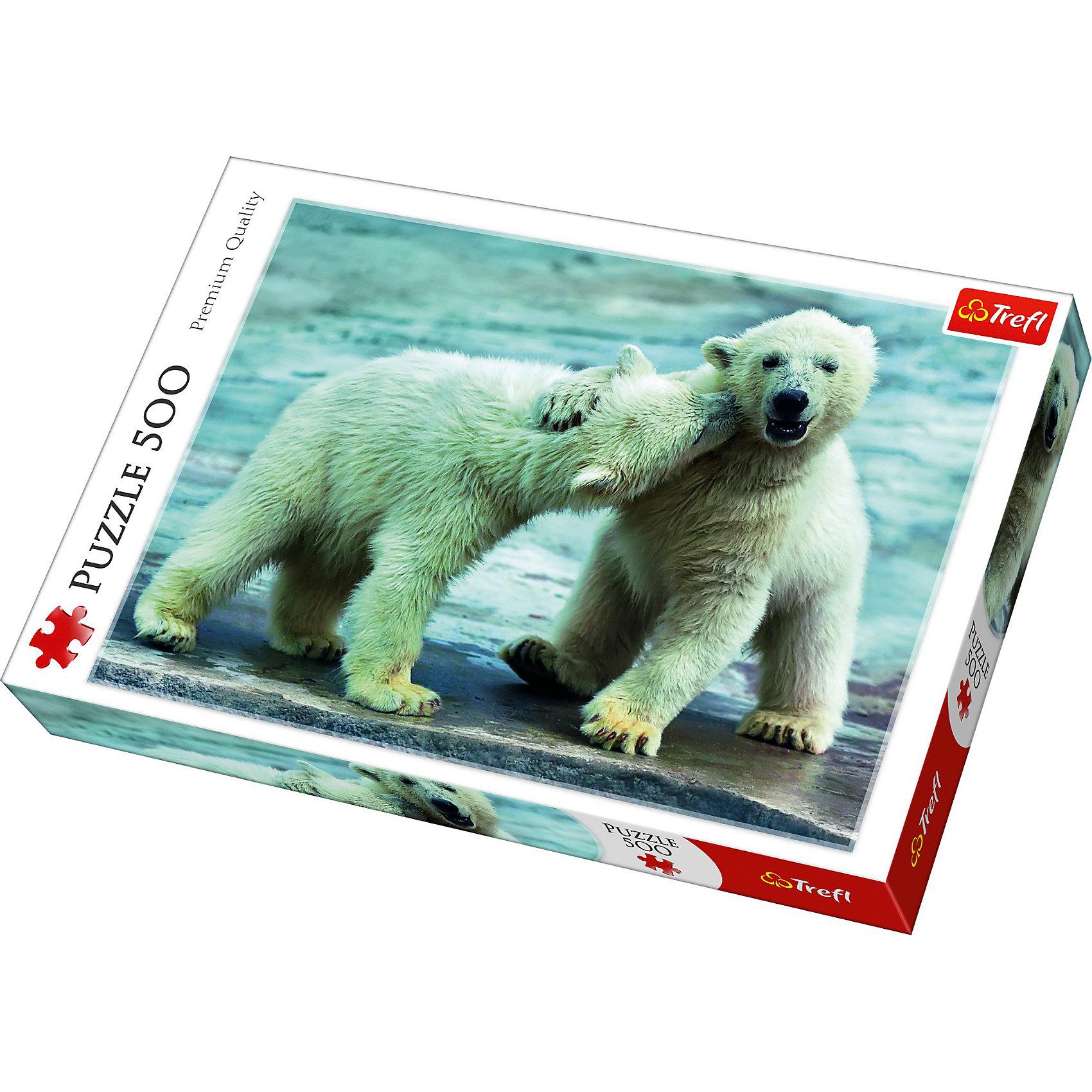 Пазлы Белые медведи, 500 элементовПазлы для детей постарше<br>Пазл с двумя милыми белыми медвежатами привлечет внимание детей и позволит в игровой форме развить множество полезных навыков! Головоломки от польского бренда Trefl славятся высоким качеством материалов и выбором живописных художественных фотографий. Каждая деталь из прочного картона надежно соединяется с соседними, образуя прочную картину. Если готовое изображение закрепить клеем, оно сможет украсить любую комнату вашего дома.  <br><br>Интересная головоломка станет прекрасным вариантом для вечера в компании друзей или семейного досуга.  <br><br>Количество элементов пазла: 500.  <br><br>Размер картинки в собранном виде: 48х34 см.<br><br>Ширина мм: 398<br>Глубина мм: 45<br>Высота мм: 266<br>Вес г: 500<br>Возраст от месяцев: 120<br>Возраст до месяцев: 2147483647<br>Пол: Унисекс<br>Возраст: Детский<br>SKU: 7126386