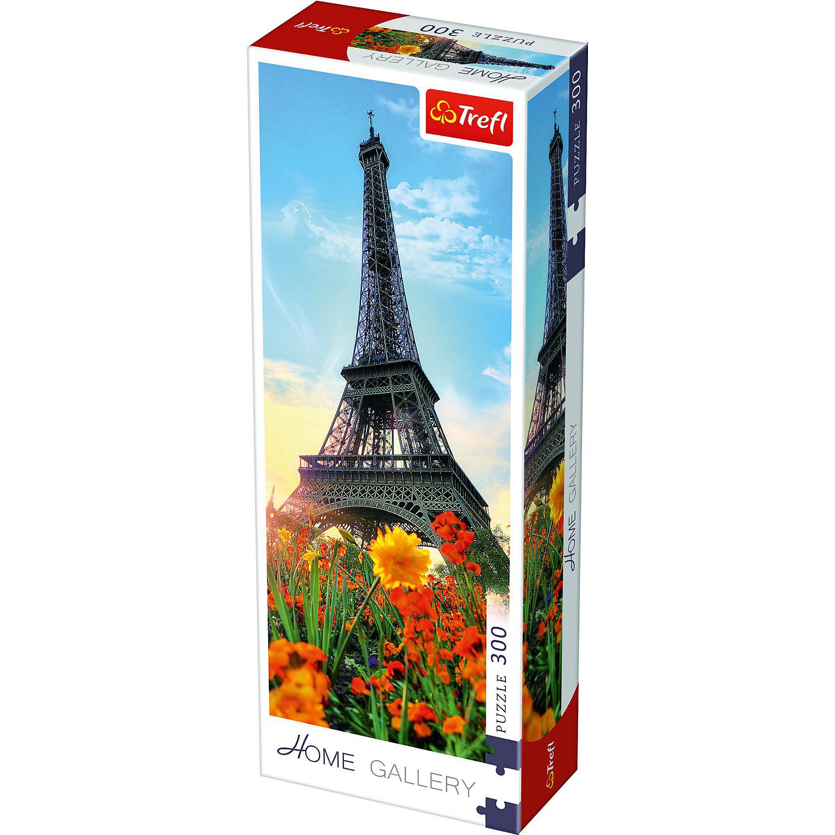 Пазлы Эйфелева башня среди цветов, 300 элементовПазлы для детей постарше<br>Если вы любите красивую архитектуру, Французскую культуру и летние краски, то прекрасным выбором станет пазл «Домашняя галерея – Эйфелева башня среди цветов» из 300 деталей. Эта стильная и качественная головоломка сможет скрасить досуг компании любого возраста. <br><br> Все элементы выполнены из прочного картона и отлично подогнаны друг к другу. Готовое изображение можно скрепить с помощью клея и повесить на видное место. Картинка с величественной Эйфелевой башней в окружении пышных цветов на фоне ясного неба будет дарить приподнятое настроение домочадцам и гостям. <br><br> Количество элементов пазла: 300. <br><br> Размер картинки в собранном виде: 48х16 см.<br><br>Ширина мм: 97<br>Глубина мм: 42<br>Высота мм: 264<br>Вес г: 233<br>Возраст от месяцев: 180<br>Возраст до месяцев: 2147483647<br>Пол: Унисекс<br>Возраст: Детский<br>SKU: 7126389