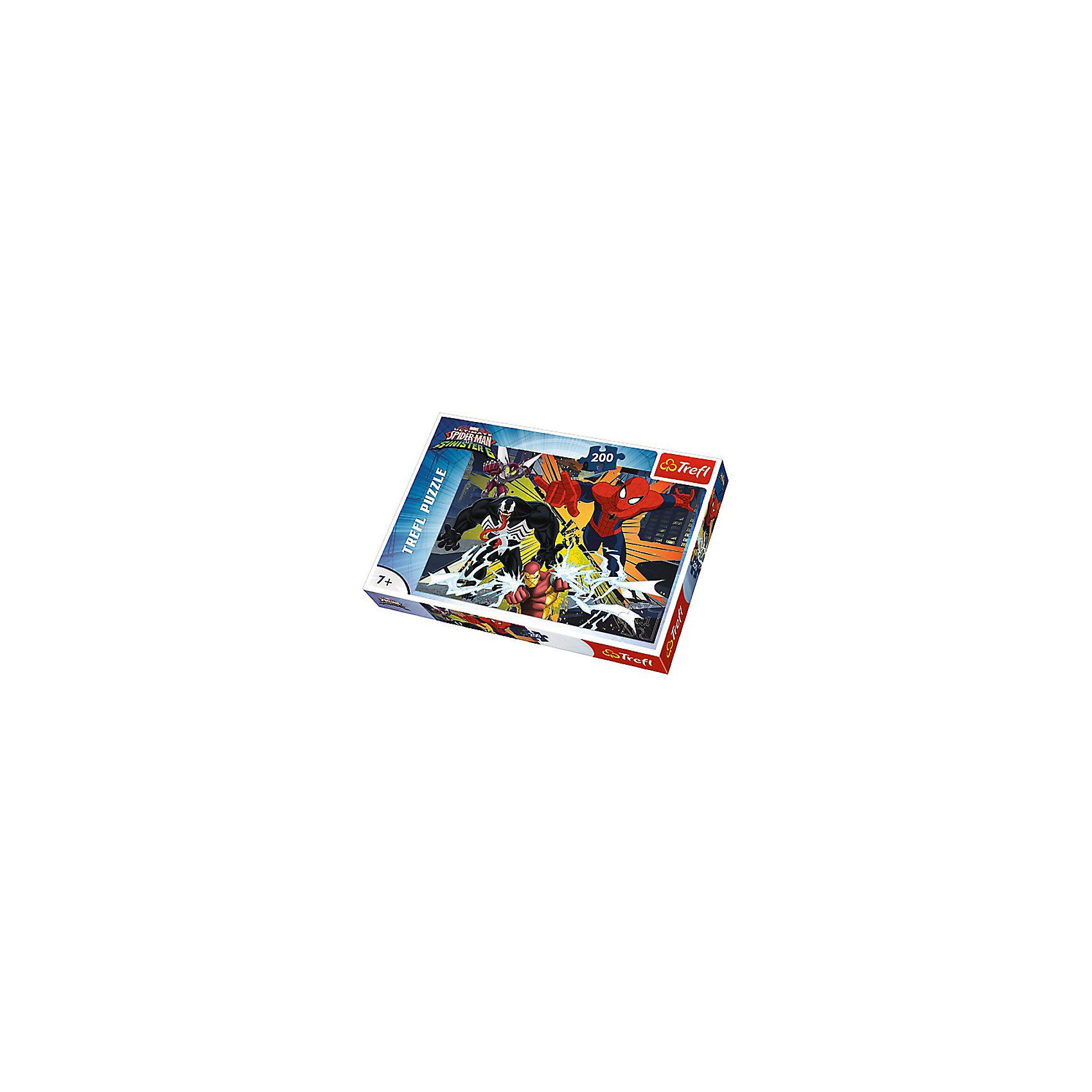 Пазлы Человек-паук Столкновение врагов, 200 деталейЧеловек-Паук<br>Пазлы Trefl «Столкновение врагов» 13205 состоят из 200 элементов, выполненных из плотного картона с антибликовым покрытием. На собранной картинке ребенок увидит своего любимого супер-героя Человека Паука, который как всегда сражается со злодеями.<br>Пазлы Trefl «Столкновение врагов» одновременно развивают фантазию и мелкую моторику рук. Соединяя элементы пазлов, мальчик сможет придумать множество захватывающих сюжетов, где очутиться в мире супер-героев спасающих вселенную от захватчиков.<br>Размер картинки в сложенном виде - 48x34 сантиметров.<br>Данный набор предназначен для детей старше семи лет. <br>Яркая красочная картонная упаковка обязательно привлечет взгляд ребенка.<br><br>Ширина мм: 335<br>Глубина мм: 40<br>Высота мм: 230<br>Вес г: 490<br>Возраст от месяцев: 84<br>Возраст до месяцев: 144<br>Пол: Мужской<br>Возраст: Детский<br>SKU: 7126399