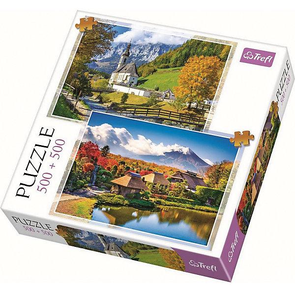 Пазлы Горный пейзаж, 500+500 элементовПазлы классические<br>Характеристики товара:<br><br>• количество деталей: 1000 шт.;<br>• возраст: от 12 лет;<br>• материал: картон;<br>• страна бренда: Польша;<br>• страна производитель: Польша.<br><br>Пазлы «Горный пейзаж» станут отличным подарком как для детей, так и для родителей. В набор входят 2 картинки-пазла с изображением восхитительных пейзажей, состоящие из 500 элементов. <br><br>Детали легко стыкуются, не деформируются при использовании и долго сохраняют свой вид. Процесс собирания пазлов не только интересный, но еще и очень полезный: во время игры развивается мелкая моторика, концентрация внимания, усидчивость, логическое мышление.<br><br>Пазлы Горный пейзаж, 500+500 элементов, Trefl (Трефл) можно купить в нашем интернет-магазине.<br>Ширина мм: 260; Глубина мм: 260; Высота мм: 40; Вес г: 600; Возраст от месяцев: 144; Возраст до месяцев: 2147483647; Пол: Унисекс; Возраст: Детский; SKU: 7126404;