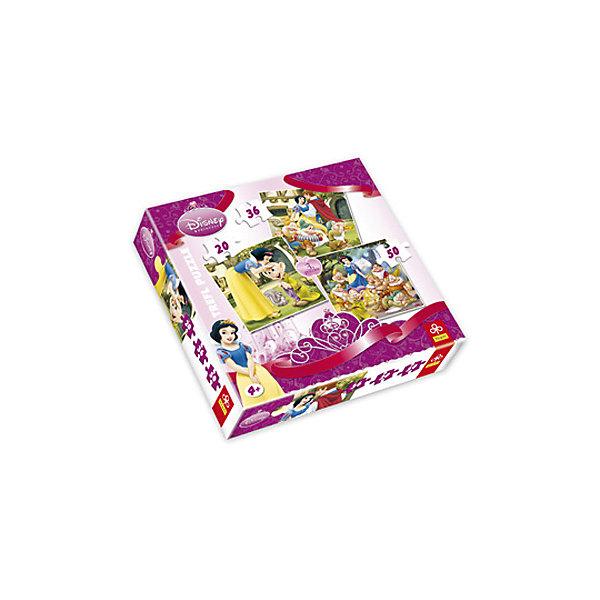 Набор 3в1( 20+36+50дет) БелоснежкаПазлы для малышей<br>Характеристики товара:<br><br>• количество деталей: 20; 36; 50 шт.;<br>• размер картинки: 20х19,5 см;<br>• возраст: от 4 лет;<br>• материал: картон;<br>• размер упаковки: 28х28х6 см;<br>• страна бренда: Польша;<br>• страна производитель: Польша.<br><br>«Белоснежка» от Trefl - замечательный набор пазлов, состоящий из трех картинок с изображением любимых персонажей сказки. Картинки состоят из 20, 36 и 50 элементов. Все детали изготовлены из плотного картона, устойчивого к деформации и выцветанию. Готовыми картинками можно украсить свою комнату или преподнести их в подарок. Детали надежно стыкуются друг с другом. Собирание пазлов положительно влияет на развитие мелкой моторики, логики, аккуратности, усидчивости и концентрации внимания.<br><br>Набор 3в1( 20+36+50дет) Белоснежка, Trefl (Трефл) можно купить в нашем интернет-магазине.<br>Ширина мм: 280; Глубина мм: 280; Высота мм: 62; Вес г: 420; Возраст от месяцев: 36; Возраст до месяцев: 120; Пол: Женский; Возраст: Детский; SKU: 7126408;