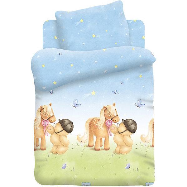 Комплект постельного белья детский поплин Forever FriendsМишка и ПониДетское постельное бельё<br>Характеристики товара:<br><br>• размер: детская кроватка;<br>• в комплекте: пододеяльник 112х147 см; простынь 110х150 см; наволочка 40х60 см.;<br>• материал: поплин (100% хлопок);<br>• размер упаковки: 23х5х36 см.;<br>• вес: 600 гр.<br><br>Постельное белье «Мишка и Пони» коллекции «Forever Friends» создано для самых маленьких. Трогательный дизайн комплекта постельного белья привнесет в детскую тепло и уют. Белье создает ощущения мягкости, спокойствия и легкости.<br><br>Комплект изготовлен из поплина с использованием не линяющих натуральных красителей, ткань прочная, мягкая, «дышащая», легко стирается и гладится.<br><br>Комплект постельного белья детский поплин Forever FriendsМишка и Пони можно купить в нашем интернет-магазине.<br><br>Ширина мм: 230<br>Глубина мм: 50<br>Высота мм: 260<br>Вес г: 600<br>Возраст от месяцев: 48<br>Возраст до месяцев: 144<br>Пол: Унисекс<br>Возраст: Детский<br>SKU: 7126595