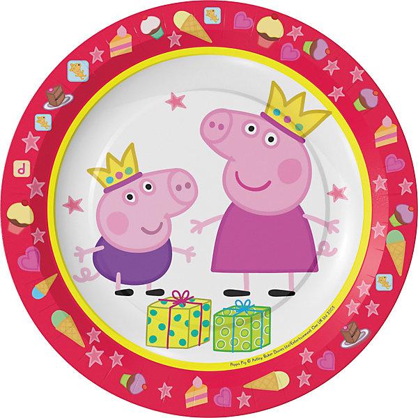 Тарелки Росмэн Свинка Пеппа 6 шт, 18 смТарелки<br>Характеристики:<br><br>• в комплекте: 6 шт;<br>• диаметр: 18 см;<br>• герой: Свинка Пеппа;<br>• материал: бумага;<br>• вес: 9 г.;<br>• для детей в возрасте: от 3 лет;<br>• страна производитель: Китай.<br><br>Набор красивых тарелочек с изображением любимых героев «Пеппа-принцесса» бренда «Росмэн» сделан из плотной бумаги с глянцевым ламинированием, что позволяет использовать их для холодной и горячей еды. Эти шесть тарелочек из комплекта не только красивые, но и безопасные. Качественные материалы одноразовой посуды не поранят детей, при падении она не раскалывается.<br><br>Детские праздники с применением одноразовой посуды станут намного веселее и красочней. А также посуду не придется мыть после завершения праздника.<br><br>Набор тарелок «Пеппа-принцесса» можно купить в нашем интернет-магазине.<br>Ширина мм: 390; Глубина мм: 192; Высота мм: 195; Вес г: 9; Возраст от месяцев: 36; Возраст до месяцев: 2147483647; Пол: Женский; Возраст: Детский; SKU: 7127423;