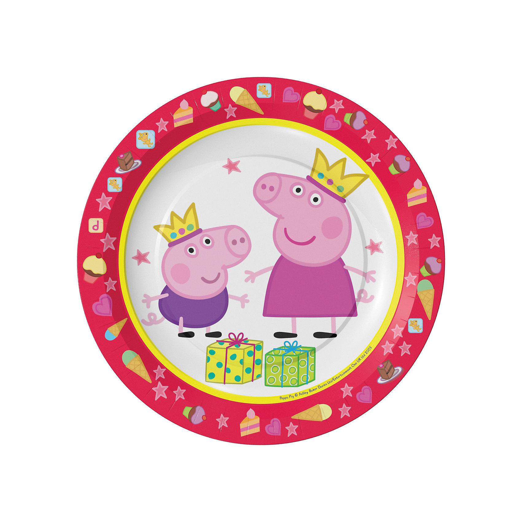 Тарелки Росмэн Свинка Пеппа 6 шт, 18 смТарелки<br>Яркие и практичные тарелки Пеппа-принцесса с очаровательными героями мультфильма Свинка Пеппа эффектно украсят стол и порадуют всех участников торжества. А самое главное, одноразовые бумажные тарелки прекрасно удерживают еду, благодаря глянцевому ламинированию; они почти невесомы, не могут разбиться и поранить детей, их не надо мыть.&#13;<br>В наборе 6 бумажных тарелок диаметром 18 см, декорированных привлекательным принтом. Вы также можете выбрать другие товары из данной серии: стаканы, салфетки, язычки, колпаки, подарочный набор посуды, свечи, приглашение в конверте, скатерть, маски, подарочные пакеты и др.<br><br>Ширина мм: 390<br>Глубина мм: 192<br>Высота мм: 195<br>Вес г: 9<br>Возраст от месяцев: 36<br>Возраст до месяцев: 2147483647<br>Пол: Женский<br>Возраст: Детский<br>SKU: 7127423