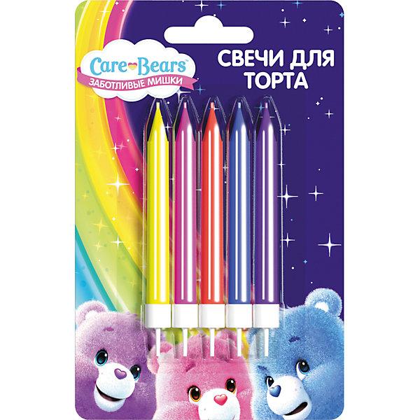 Набор свечей с держателем Росмэн Care Bears, 5 штНовинки для праздника<br>Характеристики:<br><br>• в комплекте: 5 шт;<br>• высота одной свечки: до 6 см;<br>• герой: Заботливые мишки;<br>• материал: стеорин;<br>• вес: 25 г.;<br>• для детей в возрасте: от 3 лет;<br>• страна производитель: Китай.<br><br>Набор свечей «Заботливые мишки» бренда «Росмэн» состоит из пяти свечек высотой 6,5 см. сделанных из стеорина с пластиковыми держателями. Они отлично подойдут для поздравления как мальчиков, так и девочек.<br><br>Праздничный торт для малышей - это самый яркий подарок. Весёлые яркие огоньки станут незабываемыми для ребёнка, а задувание свечей превратится в забавную игру. Такие упражнения принесут и практическую пользу, помогут детям осваивать дыхательную гимнастику, что способствует гармоничному физическому и умственному развитию. Эти упражнения полезно проводить и в простые дни.<br><br>Набор свечей с держателями «Заботливые мишки» можно купить в нашем интернет-магазине.<br>Ширина мм: 100; Глубина мм: 100; Высота мм: 10; Вес г: 20; Возраст от месяцев: 36; Возраст до месяцев: 2147483647; Пол: Унисекс; Возраст: Детский; SKU: 7127432;