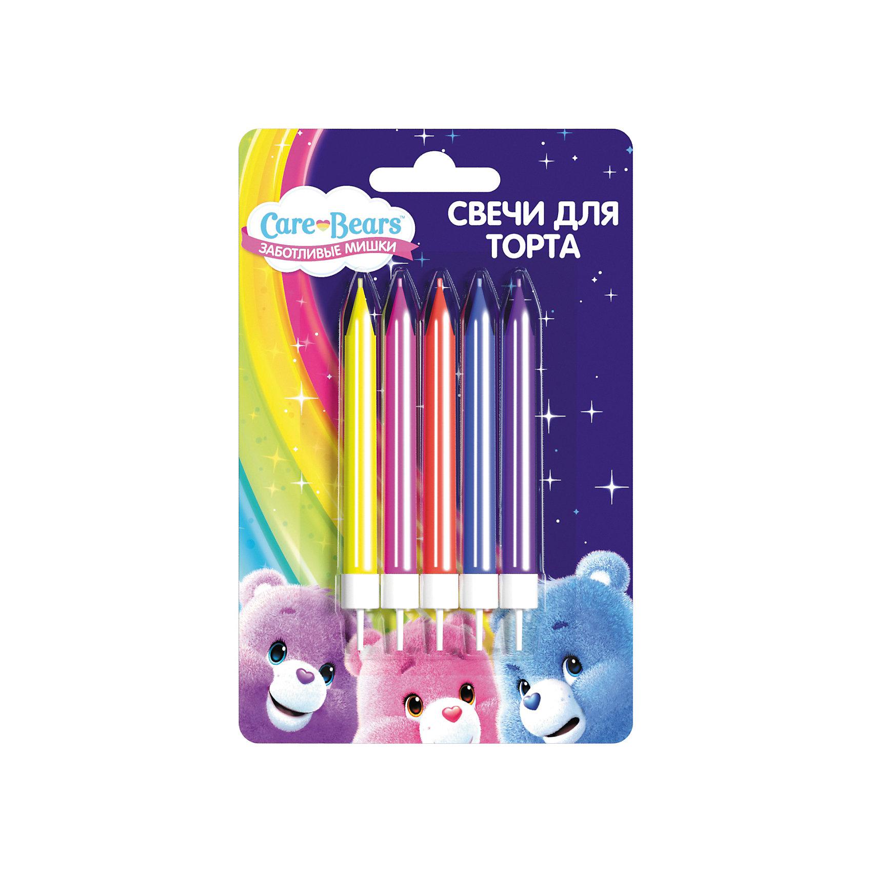 Набор свечей с держателем Росмэн Care Bears, 5 штДетские свечи для торта<br>Вкусный торт с разноцветными свечами порадует любого ребенка! Яркие, веселые огоньки развеселят именинника, а задувание свечей превратится в забавную игру. И в увлекательной игровой форме ребенок будет развивать свою дыхательную систему, активная работа которой способствует гармоничному физическому и умственному развитию. Поэтому задувать свечи, отодвигая их от себя все дальше и дальше, полезно не только в праздники, но и в повседневной жизни.&#13;<br>В наборе Заботливые мишки 24 разноцветные свечи для торта высотой 6 см с пластиковыми держателями. Свечи изготовлены из стеарина. Срок годности: 5 лет. Упаковка - блистер.<br><br>Ширина мм: 280<br>Глубина мм: 229<br>Высота мм: 273<br>Вес г: 20<br>Возраст от месяцев: 36<br>Возраст до месяцев: 2147483647<br>Пол: Унисекс<br>Возраст: Детский<br>SKU: 7127432