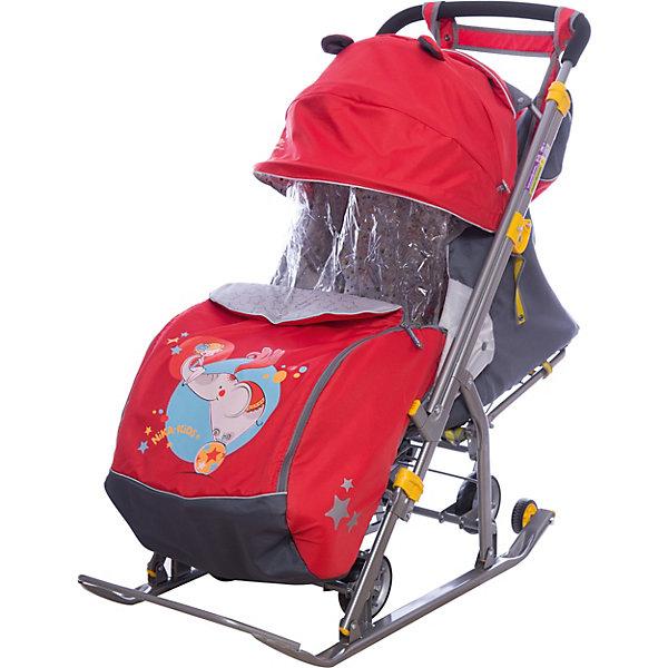 Санки-коляска Ника детям  7 (2017), Девочка и слон, красный/серыйС 4 колесиками<br>Санки-коляска Ника детям  7 (2017), Девочка и слон, красный/серый<br><br>Коляска комбинированная с трансформируемым кузовом позволяет передвигаться по любой дороге. Нажатием ноги на педаль опускаются колеса, и вы можете везти коляску по асфальту или по гладкому полу. Еще одно нажатие — коляска трансформируется в санки и снова скользить по снегу!<br><br>• механизм смены полозьев на колеса<br>• плоские полозья 40 мм с большими обрезиненными колесами<br>• пятиточечный ремень безопасности<br>• складной высокий трехсекционный козырек с декоративными ушками<br>• спинка регулируется до положения лежа<br>• подножка с регулируемым наклоном ног, позволяющая ребенку в положении лежа комфортно вытягивать ножки<br>• перекидная ручка<br>• чехол для ног с 2-мя молниями для удобного открывания с двух сторон<br>• широкое посадочное место 385 мм<br>• ширина полозьев 445 мм<br>• ширина колесной базы 280 мм<br>• высота санок на полозьях 1030 мм<br>• высота санок на колесах 1095 мм<br>• смотровое окошко для наблюдения за ребенком<br>• светоотражающий кант<br>• сумка с кармашками для полезных мелочей<br>• размер в сложенном положении 1105х445х280 мм<br>• вес изделия 10,8 кг<br><br>В моделях 2017 года - съемный прозрачный тент-дождевик для защиты от ветра и осадков<br><br>Санки-коляска Ника детям  7 (2017), Девочка и слон, красный/серый, можно купить в нашем интернет-магазине.<br>Ширина мм: 1150; Глубина мм: 470; Высота мм: 460; Вес г: 11500; Цвет: красный; Возраст от месяцев: 12; Возраст до месяцев: 48; Пол: Женский; Возраст: Детский; SKU: 7128825;