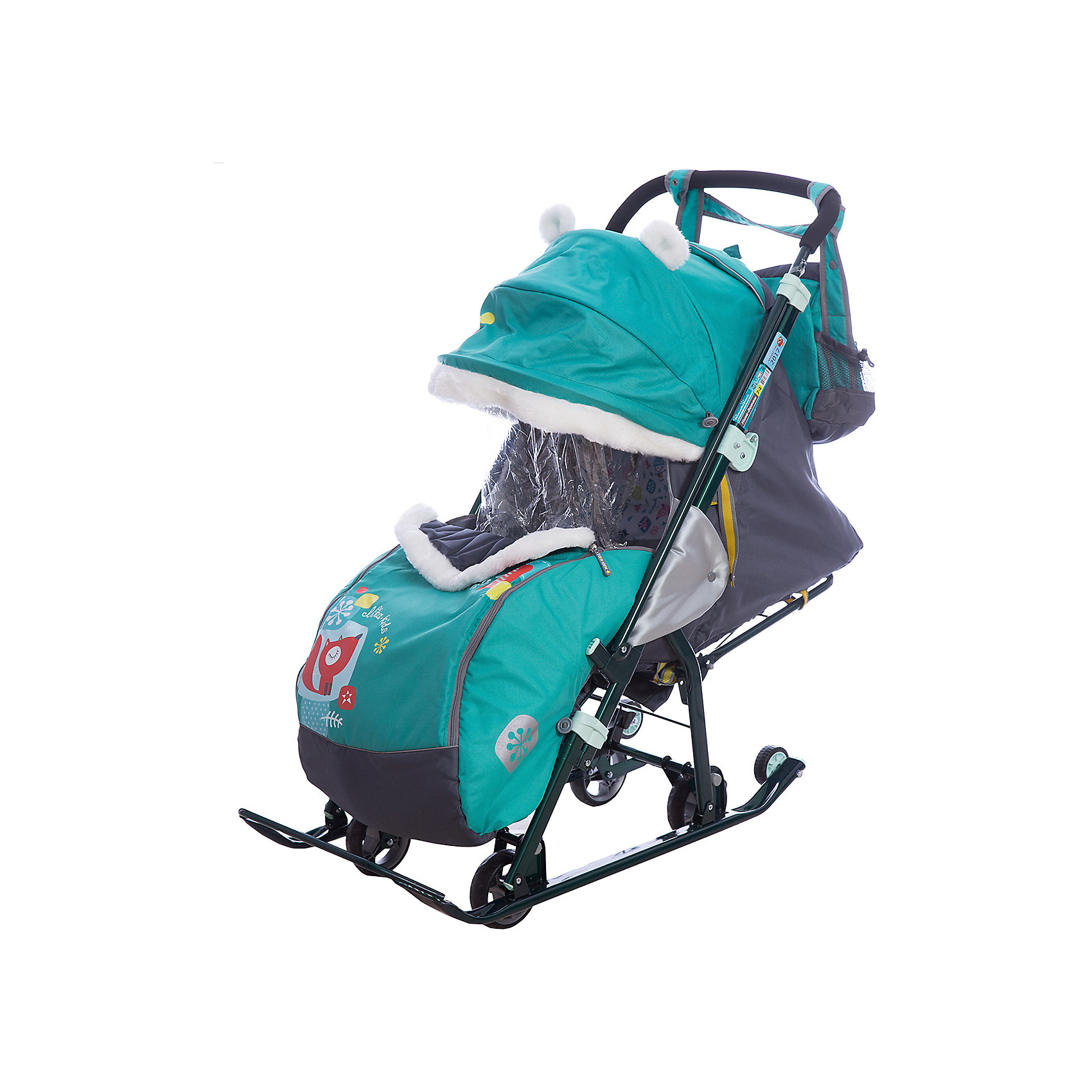 Санки-коляска Ника детям  7-2 (2017), Коллаж-лисички, изумрудС 4 колесиками<br>Санки-коляска Ника детям  7-2 (2017), Коллаж-лисички, изумруд<br><br>Коляска комбинированная с трансформируемым кузовом позволяет передвигаться по любой дороге. Нажатием ноги на педаль опускаются колеса, и вы можете везти коляску по асфальту или по гладкому полу. Еще одно нажатие — коляска трансформируется в санки и снова скользить по снегу! Крыша, чехол для ножек и ушки на крыше отделаны мехом, на ручку коляски надеваются меховые рукавички для мамы. Яркие детские рисунки на чехле для ног с двумя молниями.<br><br>• механизм смены полозьев на колеса<br>• плоские полозья 40 мм с большими обрезиненными колесами<br>• пятиточечный ремень безопасности<br>• складной высокий трехсекционный козырек с декоративными ушками<br>• спинка регулируется до положения лежа<br>• подножка с регулируемым наклоном ног, позволяющая ребенку в положении лежа комфортно вытягивать ножки<br>• перекидная ручка<br>• чехол для ног с 2-мя молниями для удобного открывания с двух сторон<br>• широкое посадочное место 385 мм<br>• ширина полозьев 445 мм<br>• ширина колесной базы 280 мм<br>• высота санок на полозьях 1000 мм<br>• высота санок на колесах 1060 мм<br>• смотровое окошко для наблюдения за ребенком<br>• светоотражающий кант<br>• удобная, вместительная сумка с кармашками для полезных мелочей<br>• меховые рукавички для мамы<br>• размер в сложенном положении 1105х445х280 мм<br>• вес изделия 10,3 кг<br><br><br>В моделях 2017 года:<br>• новый дизайн сумки с кармашками для полезных мелочей<br>• съемный прозрачный тент от ветра и дождя с двумя молниями, крепится к чехлу коляски на пуговицу для исключения продувания<br>• возможность крепления тента на козырьке коляски с помощью пуговицы для удобства доступа к ребенку<br>• цветной каркас изделия<br>• цветной пластик<br><br>Санки-коляска Ника детям  7-2 (2017), Коллаж-лисички, изумруд, можно купить в нашем интернет-магазине.<br><br>Ширина мм: 1150<br>Глубина мм: 470<br>Высота 