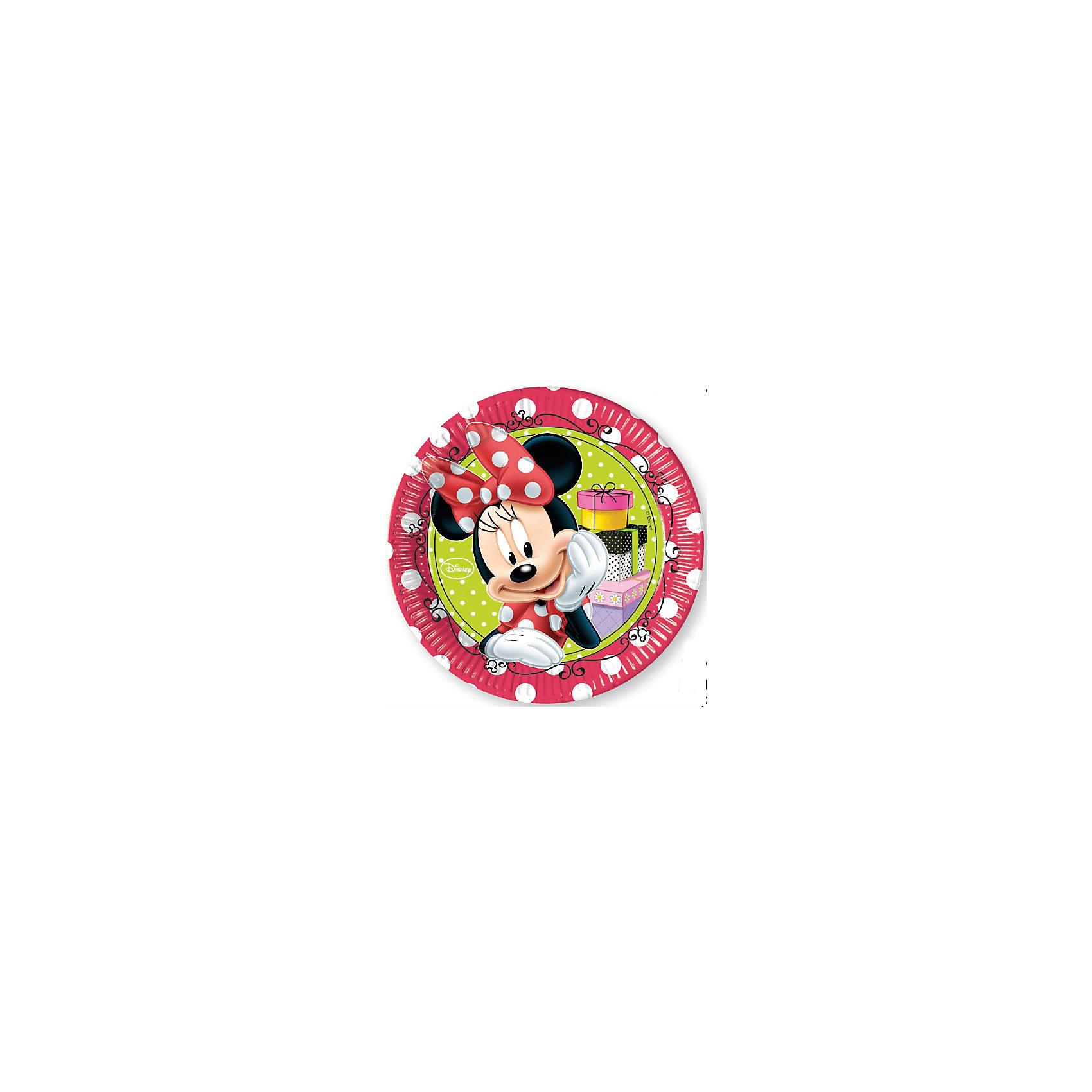 Тарелки Стильная Минни 20 см, 8 шт.Тарелки<br>Минни Маус – это очаровательная подружка Микки Мауса. Она всегда одета в красивое красное платье в белый горошек, бантик из такой же ткани красуется на ее голове. Тарелки из праздничной серии Стильная Минни станут не только оригинальным и необычным украшением на детском празднике, но и позволят сохранить Вашу посуду. Бумажные тарелки сделаны из качественных материалов, не токсичны, противоаллергенны и безопасны для здоровья. <br>Размер: 20 см. <br>Количество: 8 шт. <br>Для детей от 3 лет.<br><br>Ширина мм: 190<br>Глубина мм: 10<br>Высота мм: 262<br>Вес г: 60<br>Возраст от месяцев: 36<br>Возраст до месяцев: 2147483647<br>Пол: Женский<br>Возраст: Детский<br>SKU: 7128895
