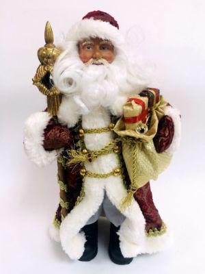 Magic Time Новогодняя фигурка Дед Мороз в бордовом костюме из пластика и ткани