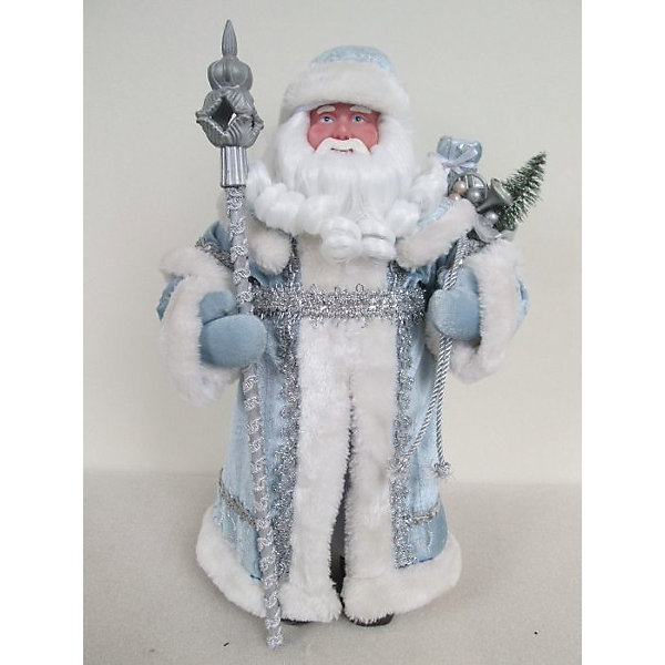 Новогодняя фигурка Дед Мороз в голубом костюме из пластика и тканиЁлочные игрушки<br><br><br>Ширина мм: 150<br>Глубина мм: 100<br>Высота мм: 310<br>Вес г: 285<br>Возраст от месяцев: 24<br>Возраст до месяцев: 2147483647<br>Пол: Унисекс<br>Возраст: Детский<br>SKU: 7128967