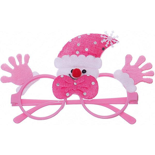 Новогодние очки Розовый Снеговик из полипропилена с декором из нетканого материала