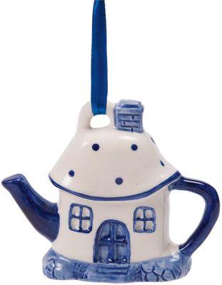 Magic Time Новогоднее подвесное елочное украшение Чайный домик из керамики