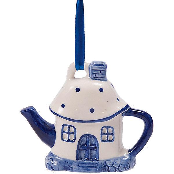 Новогоднее подвесное елочное украшение Чайный домик из керамикиЁлочные игрушки<br><br>Ширина мм: 110; Глубина мм: 90; Высота мм: 30; Вес г: 112; Возраст от месяцев: 24; Возраст до месяцев: 2147483647; Пол: Унисекс; Возраст: Детский; SKU: 7129017;