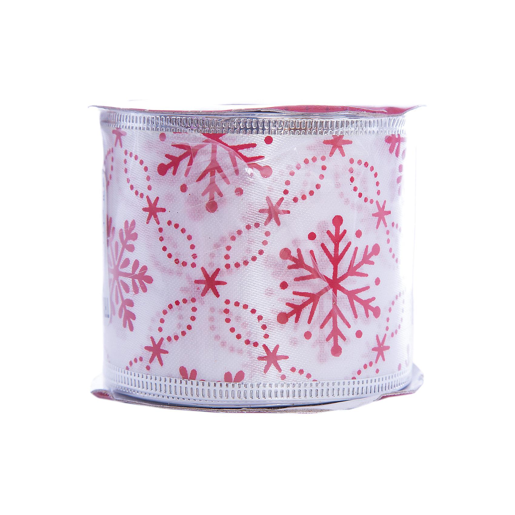 Лента новогодняя Красные снежинки арт.42818 из сатина на картонной катушке от myToys