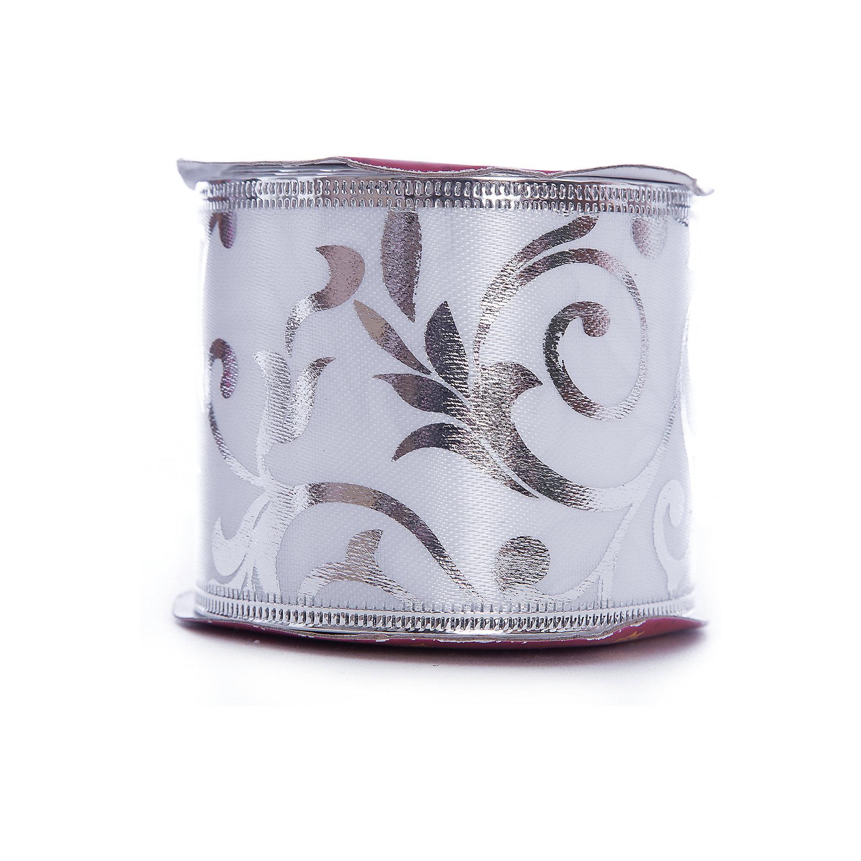 Лента новогодняя Серебряные разводы арт.42821 из сатина на картонной катушке от myToys