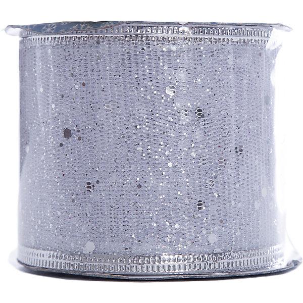 Новогодняя лента Серебрянное конфетти из полиэстера на картонной катушке, 76222